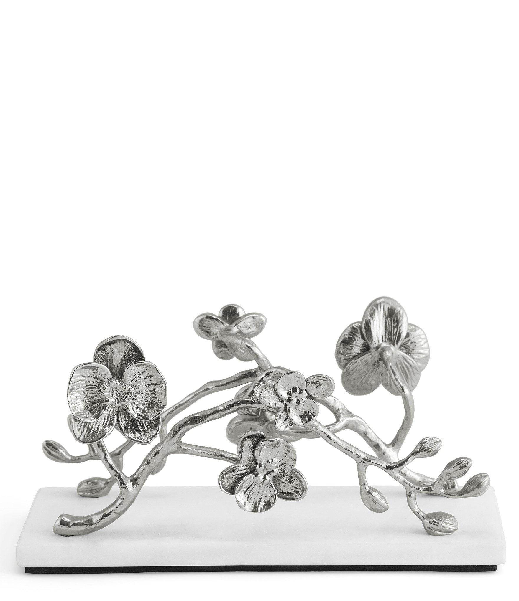 White Orchid Marble Base Vertical Napkin Holder by Michael Aram