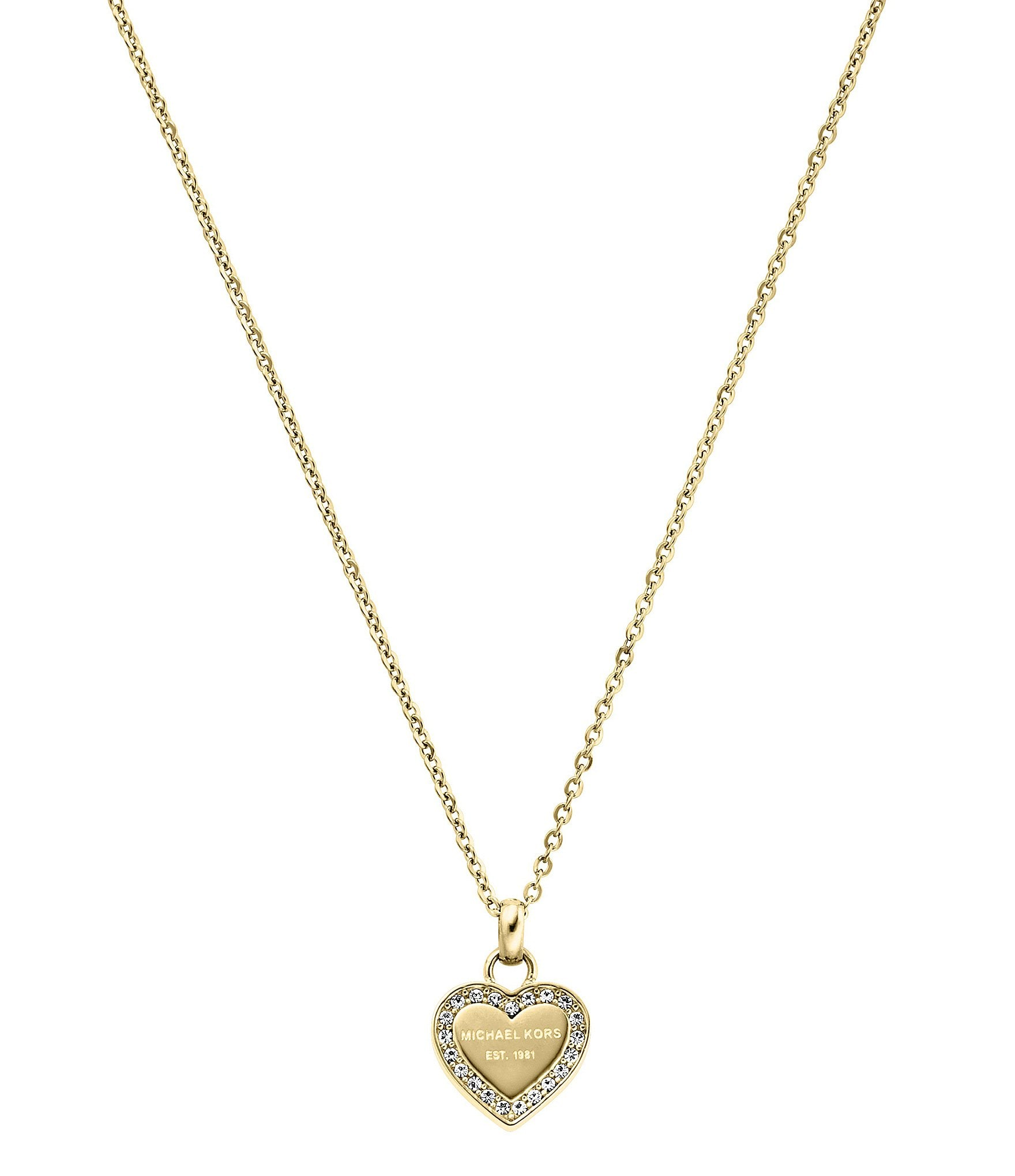 michael kors logo heart stainless steel pendant necklace. Black Bedroom Furniture Sets. Home Design Ideas