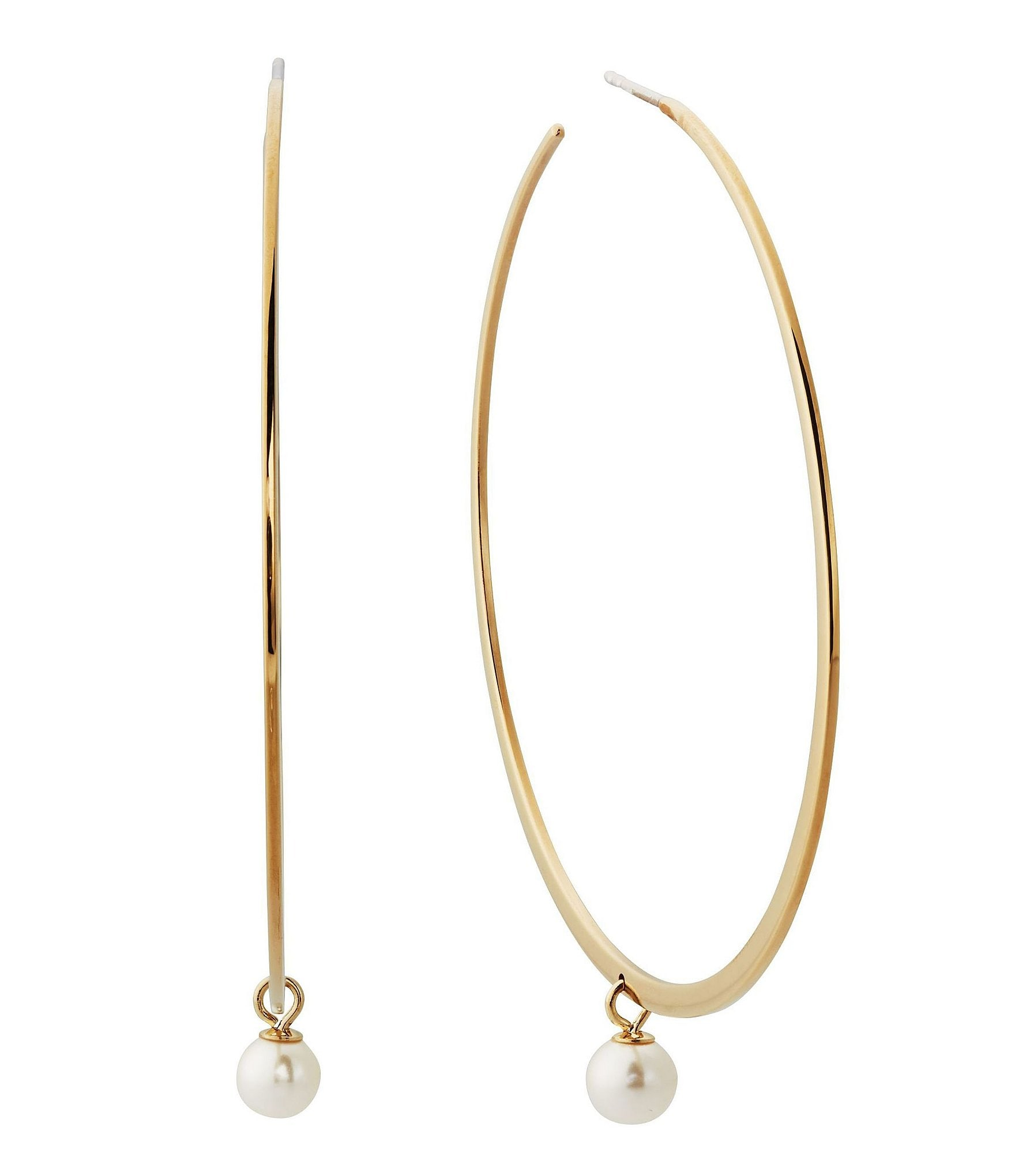 michael hoop earrings michael kors modern classic faux pearl hoop earrings 7562
