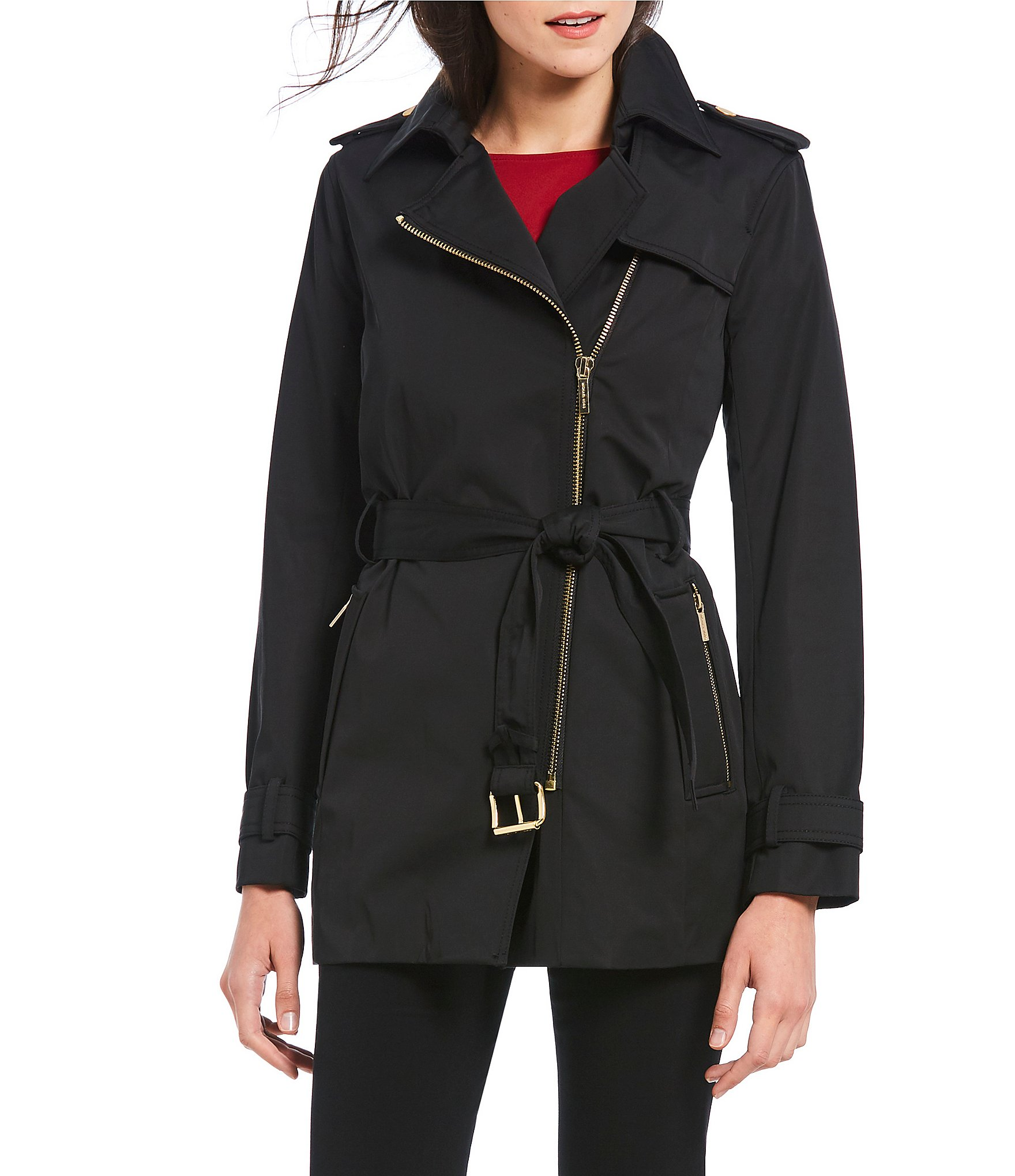 Trench Coat Zip Asymmetrical Front Belted Kors Michael P8O0Xnwk