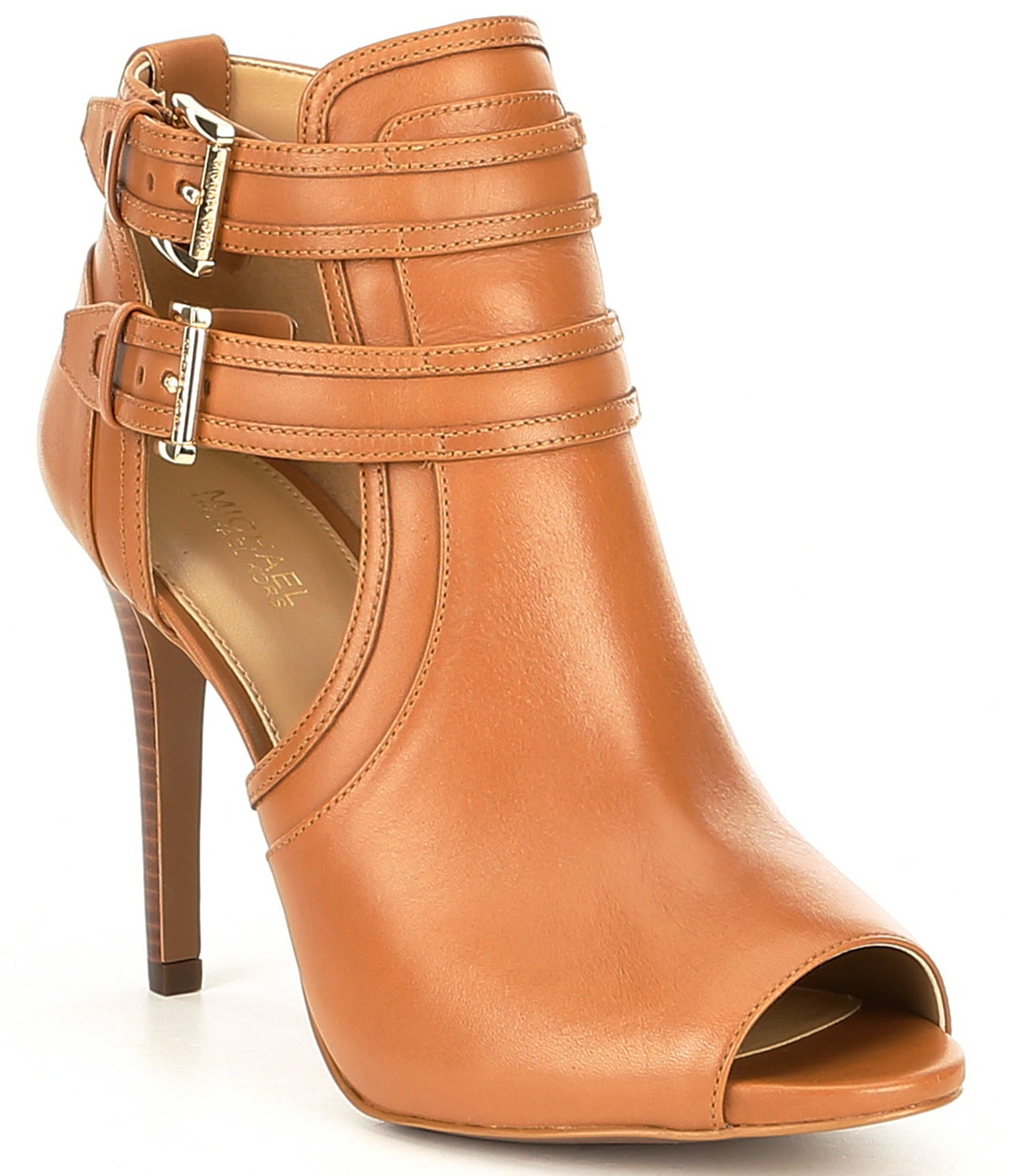 cd2d8af1c MICHAEL Michael Kors Blaze Leather Peep Toe Buckle Detail Booties |  Dillard's