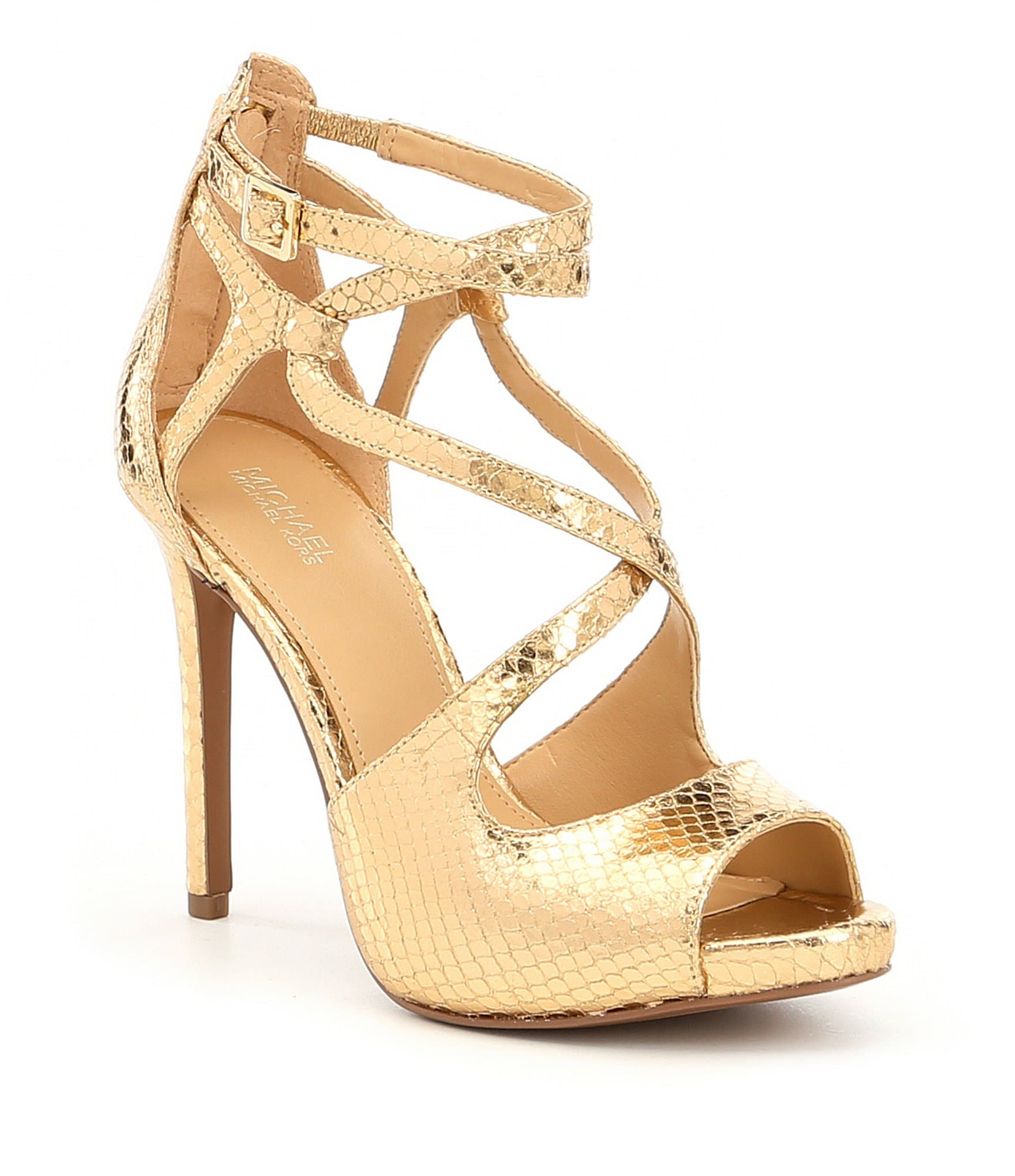 MICHAEL Michael Kors Catia Metallic Snake Dress Sandals | Dillards