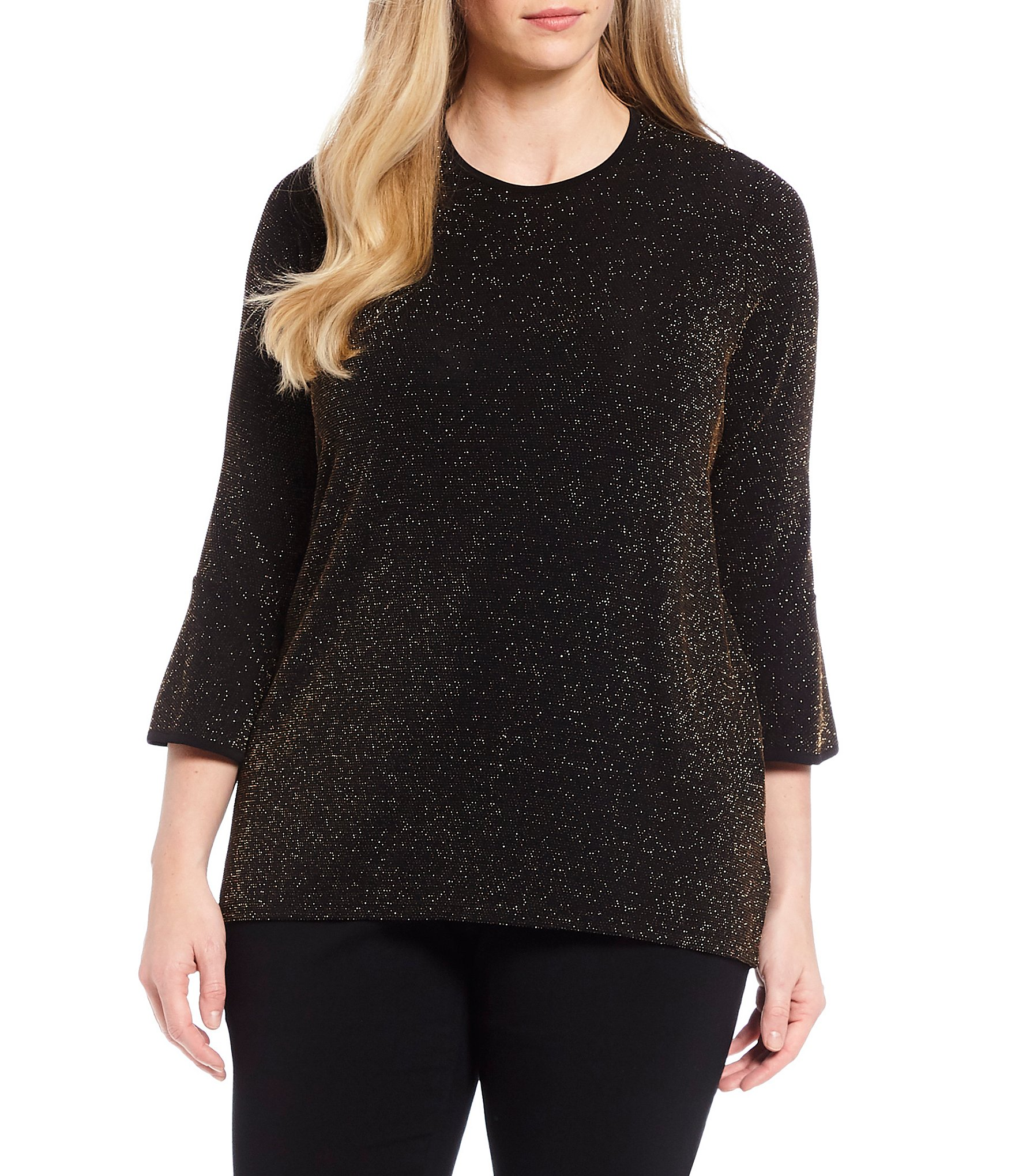 69825128933 3 4 Sleeve Plus-Size 3 4-Sleeve Knit Tops