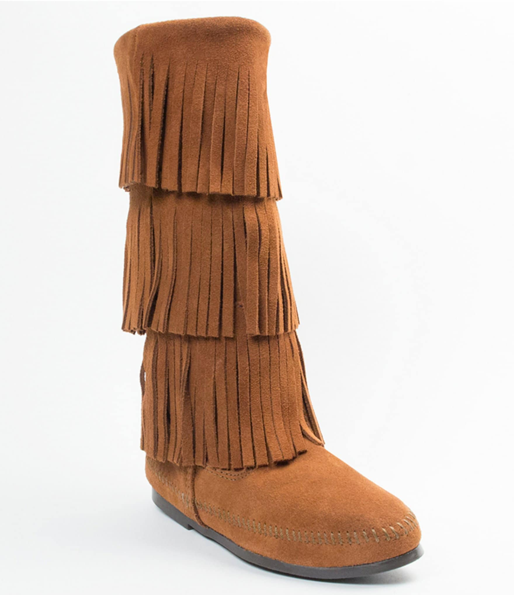 Minnetonka suede leather knee high tall lace up moccasin fringe boots - Minnetonka Suede Leather Knee High Tall Lace Up Moccasin Fringe Boots 46