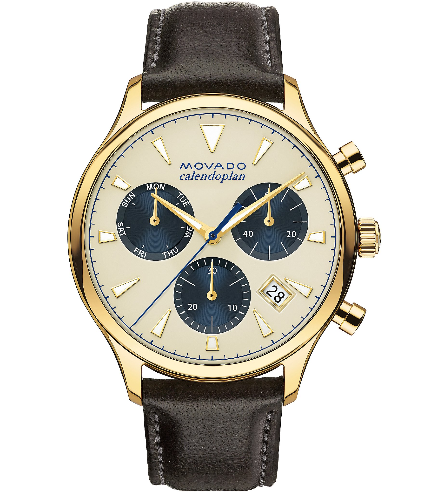 Movado heritage series calendoplan leather strap stainless steel luminescent chronograph watch for Luminescence watches