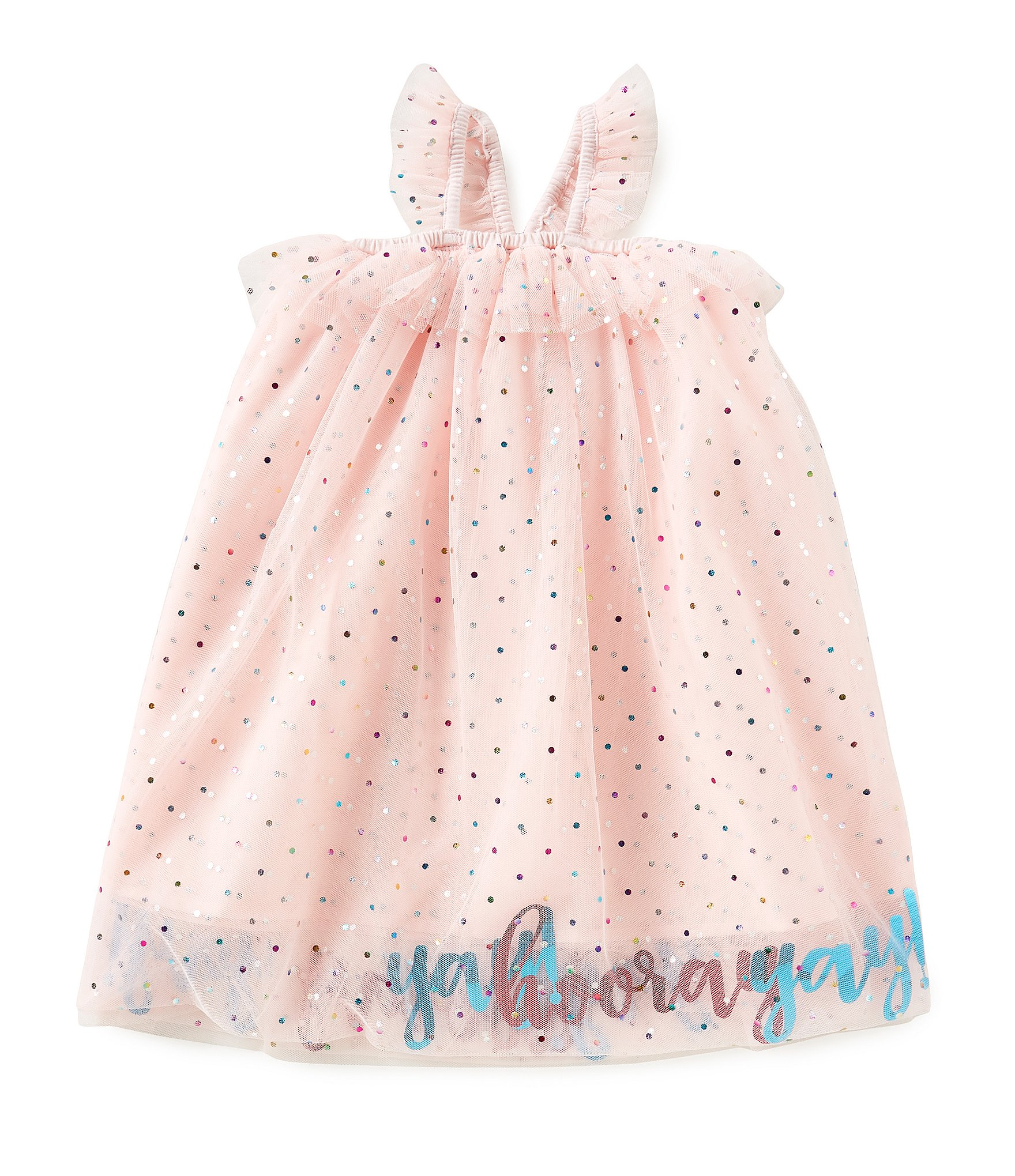 8911482f4df Mud Pie Baby Girls Yay Hooray Mesh Party Dress