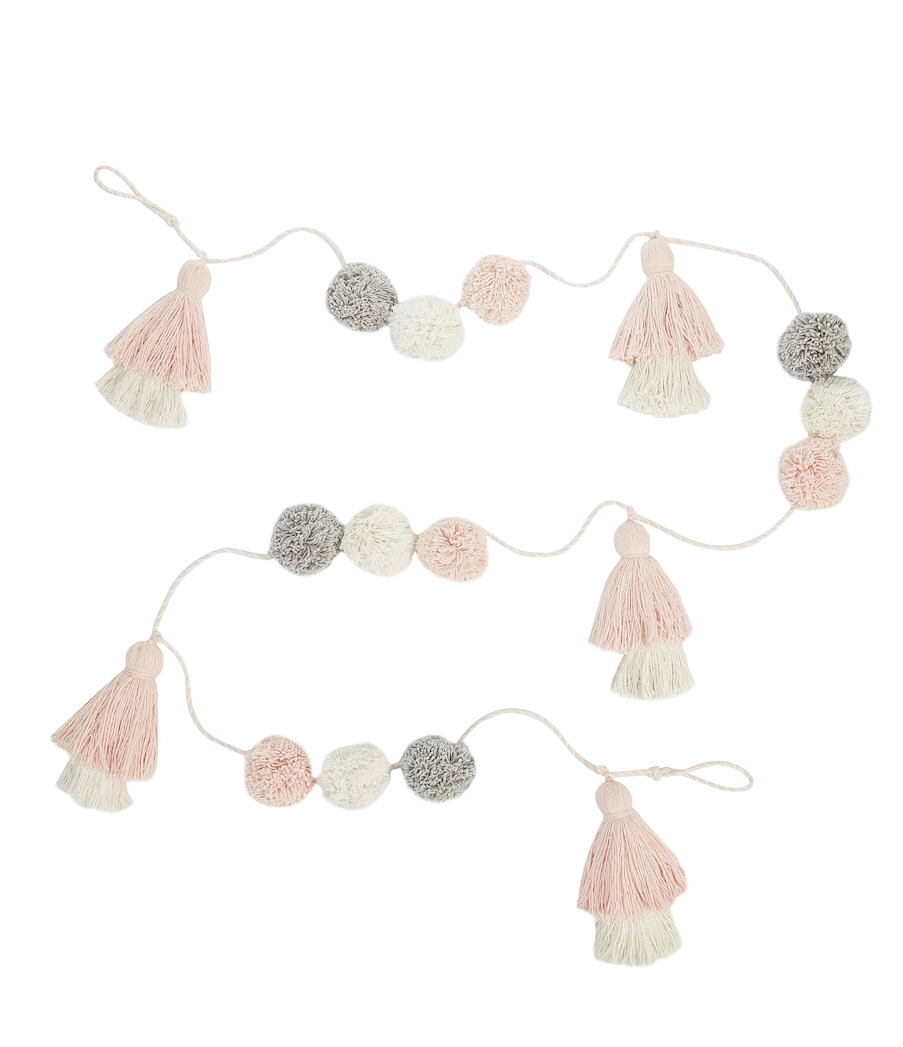 Mud Pie Pink Grey Pom Pom Tassel Garland Nursery Decor Dillard S