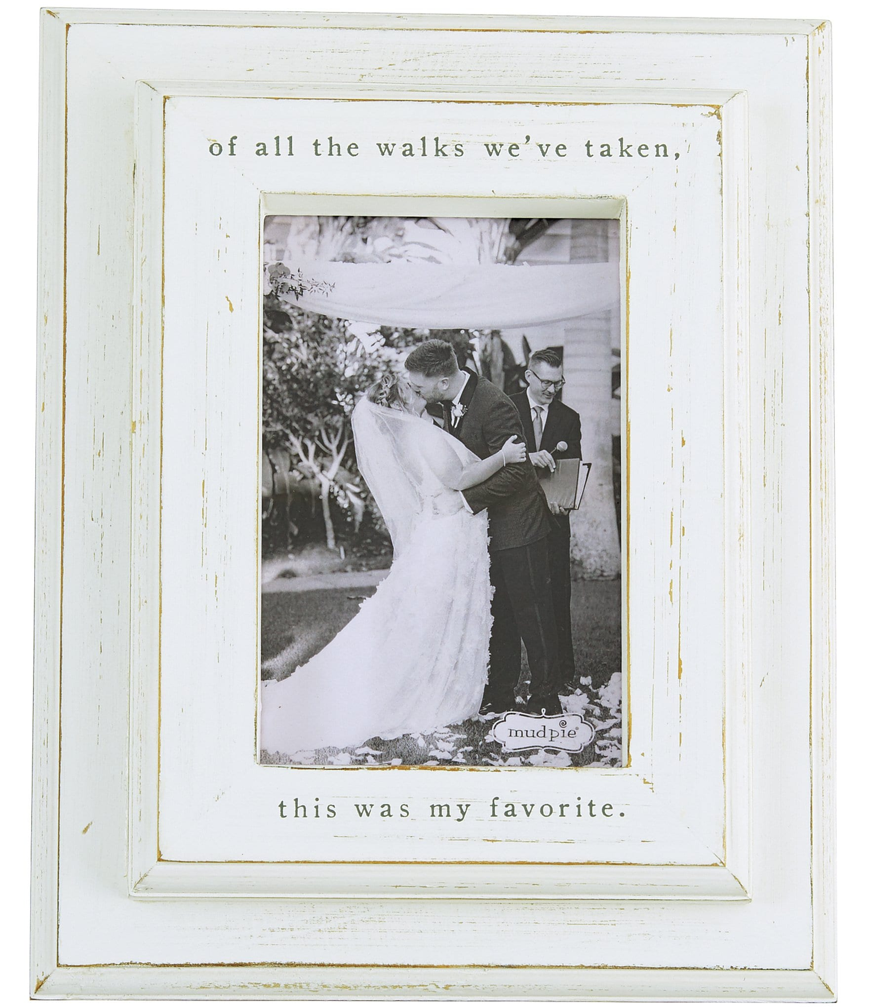 """Dillards Wedding Gifts: Mud Pie Wedding Collection """"Of All The Walks"""" Distressed"""