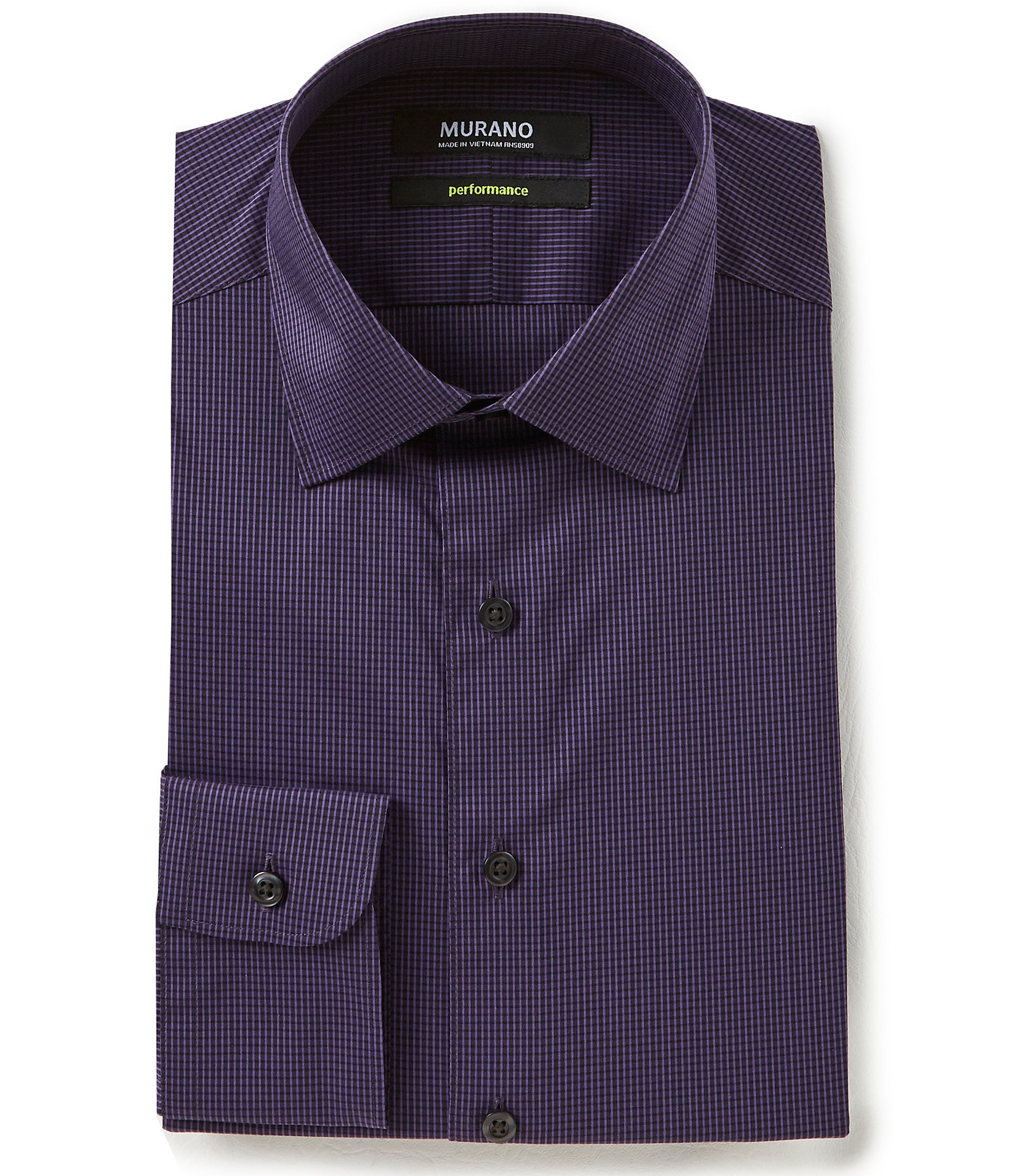 Murano slim fit spread collar performance grid checked for Spread collar slim fit dress shirts