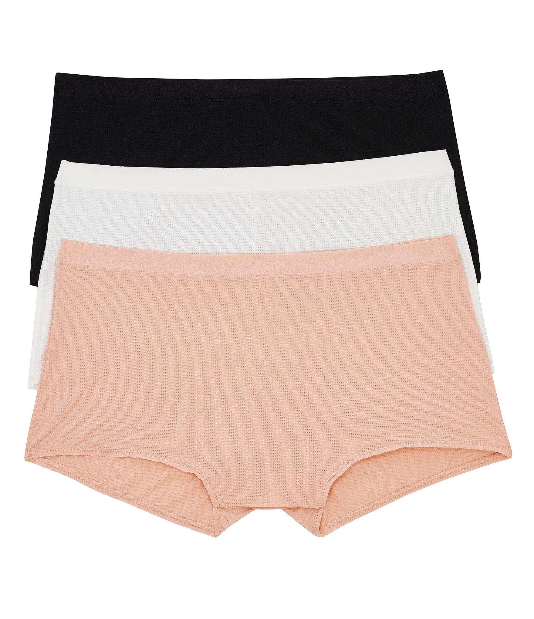 2 Pairs Women Seamless Boyshorts Boyleg Panties Microfiber Underwear Beige Small