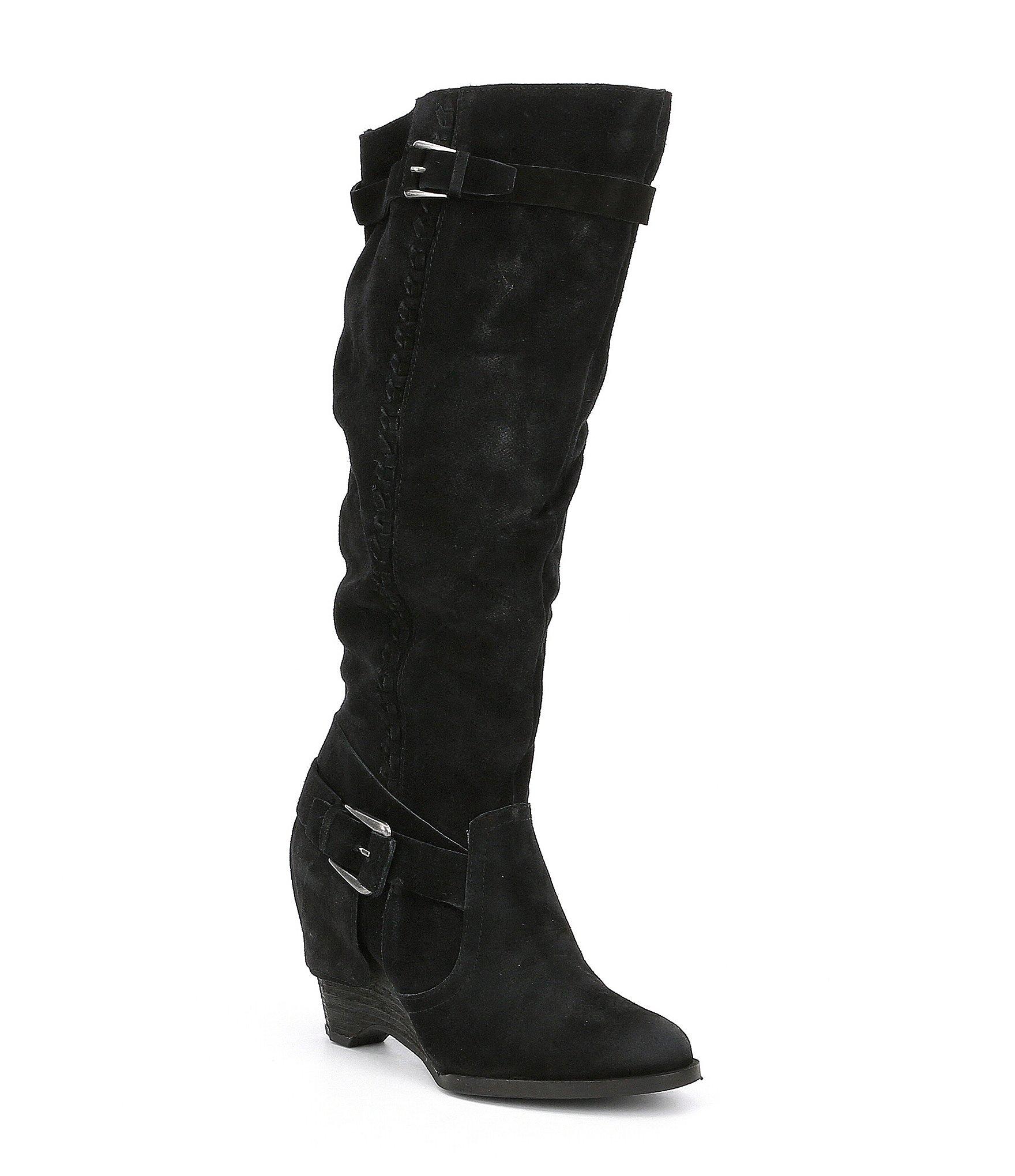 monkey up suede wedge boots dillards