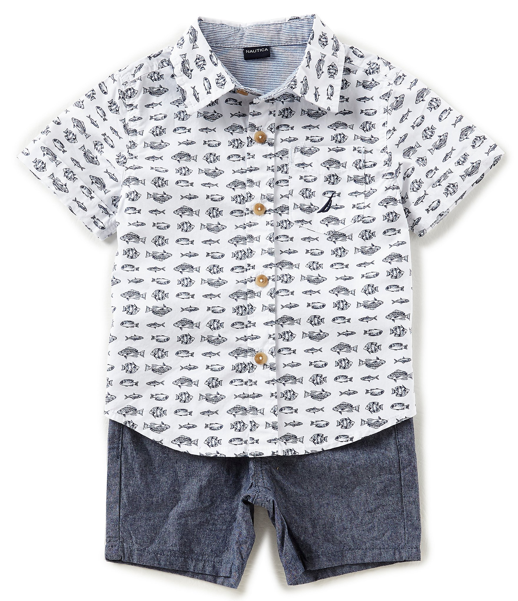Nautica baby boys 12 24 months fish print button down for Fishing shirt of the month