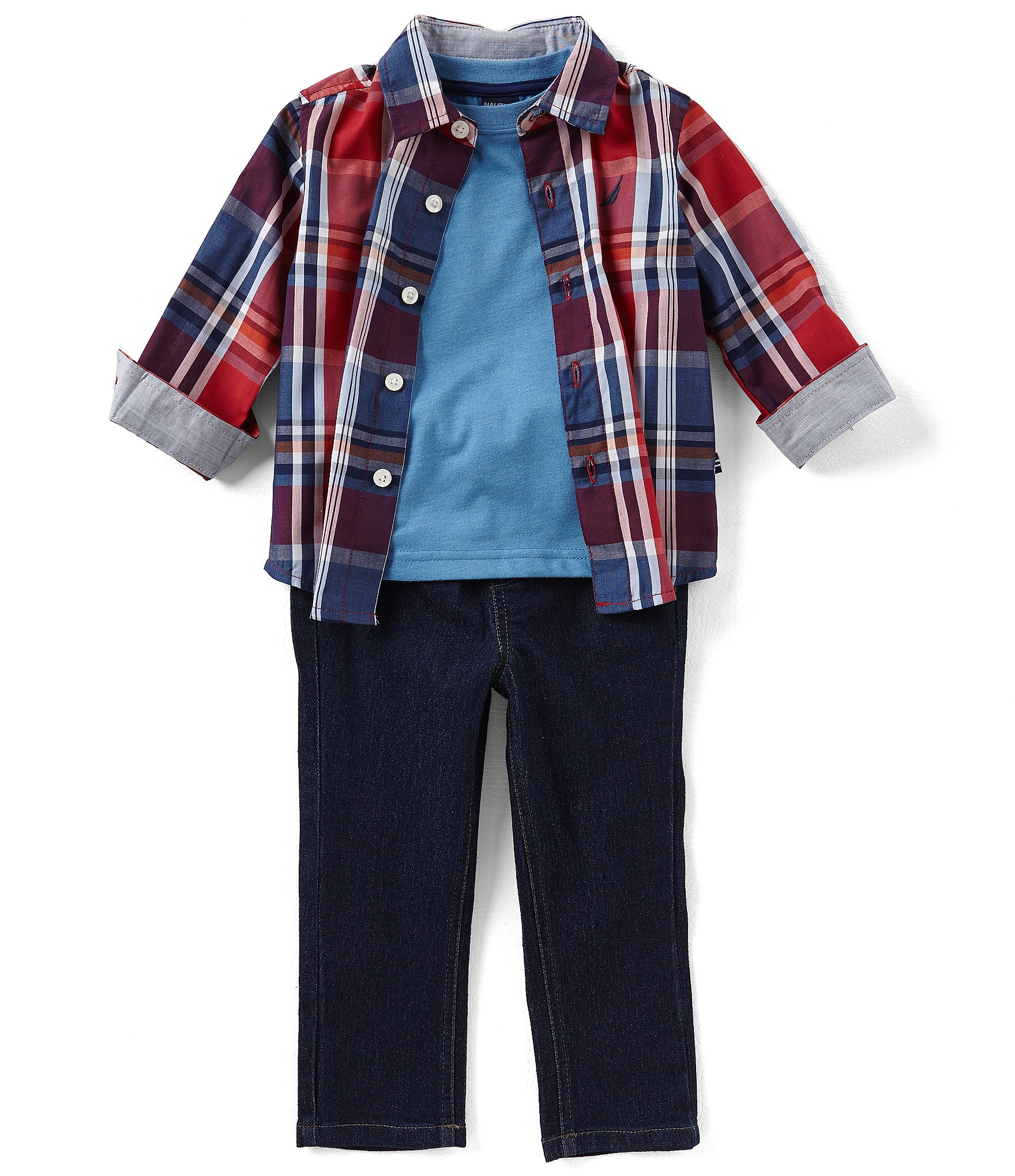 nautica baby boys 12 24 months plaid button down shirt. Black Bedroom Furniture Sets. Home Design Ideas