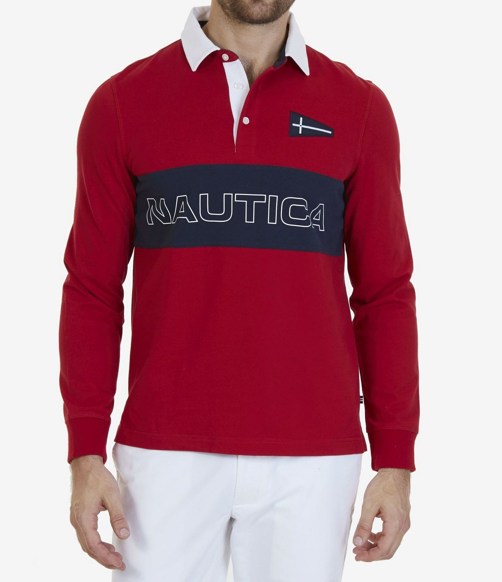 Nautica Big Tall Chest Logo Rugby Long Sleeve Polo Shirt
