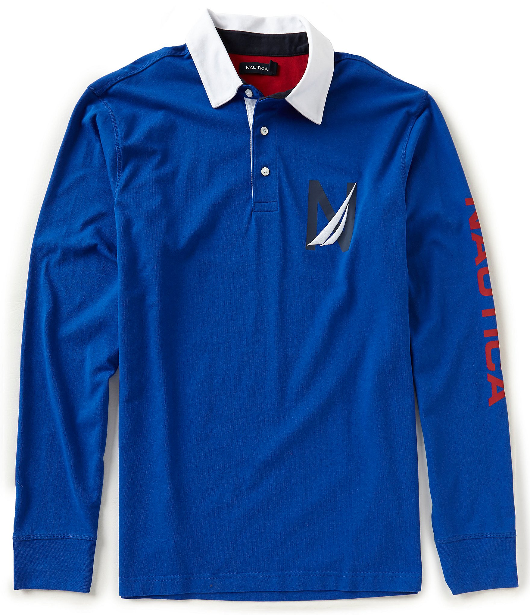 Nautica big tall heritage logo long sleeve polo shirt for Big and tall long sleeve shirts