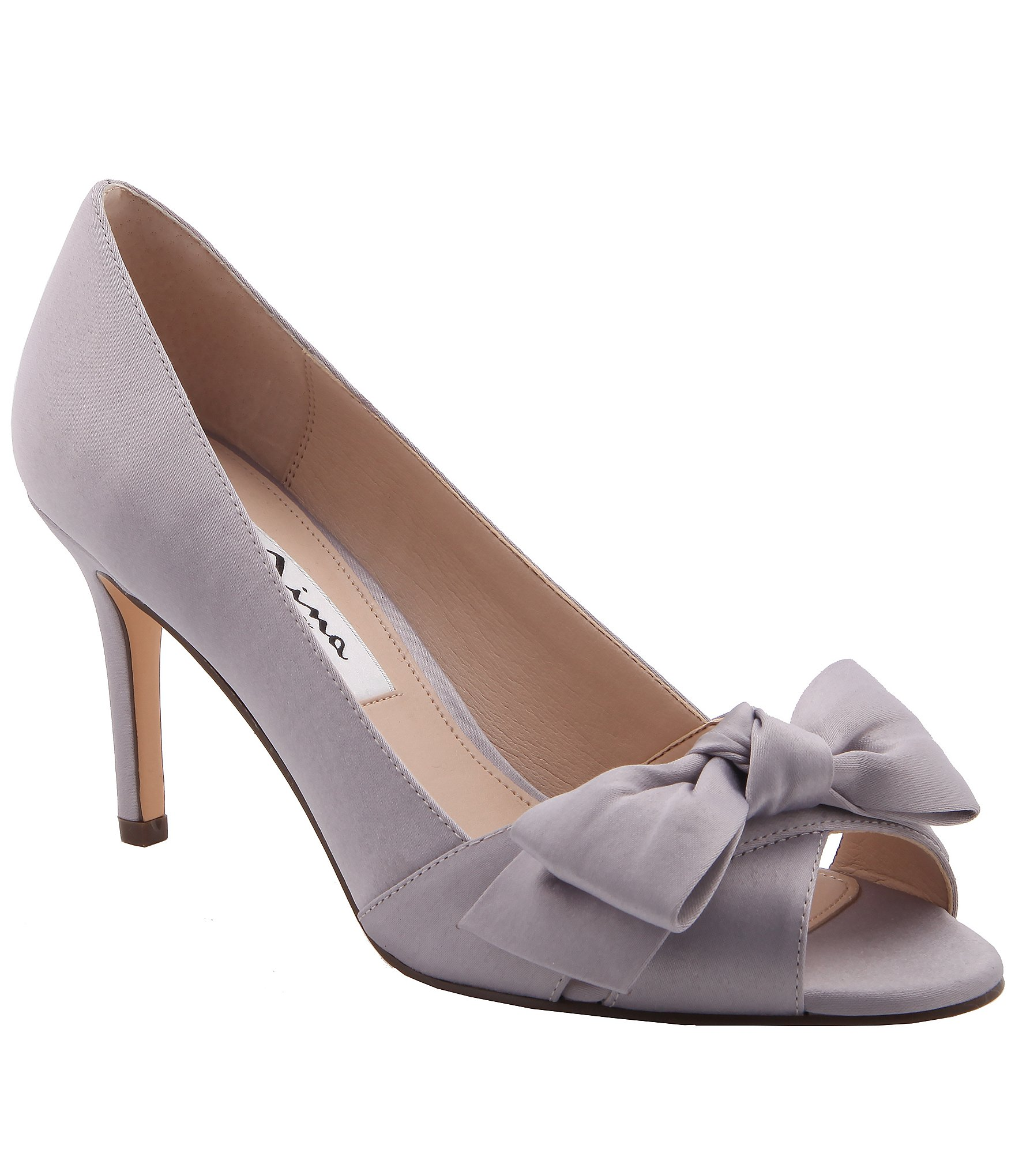 Nina Silver Peep Toe Shoes