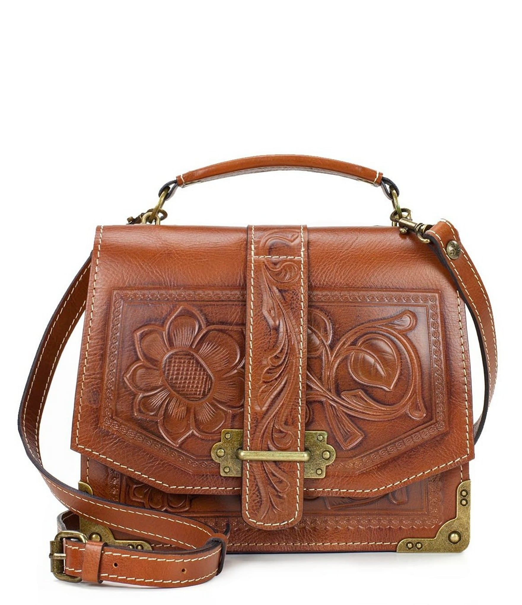 Patricia Nash Specialty Tooled Collection Stella Floral-Embossed Cross-Body Bag | Dillards