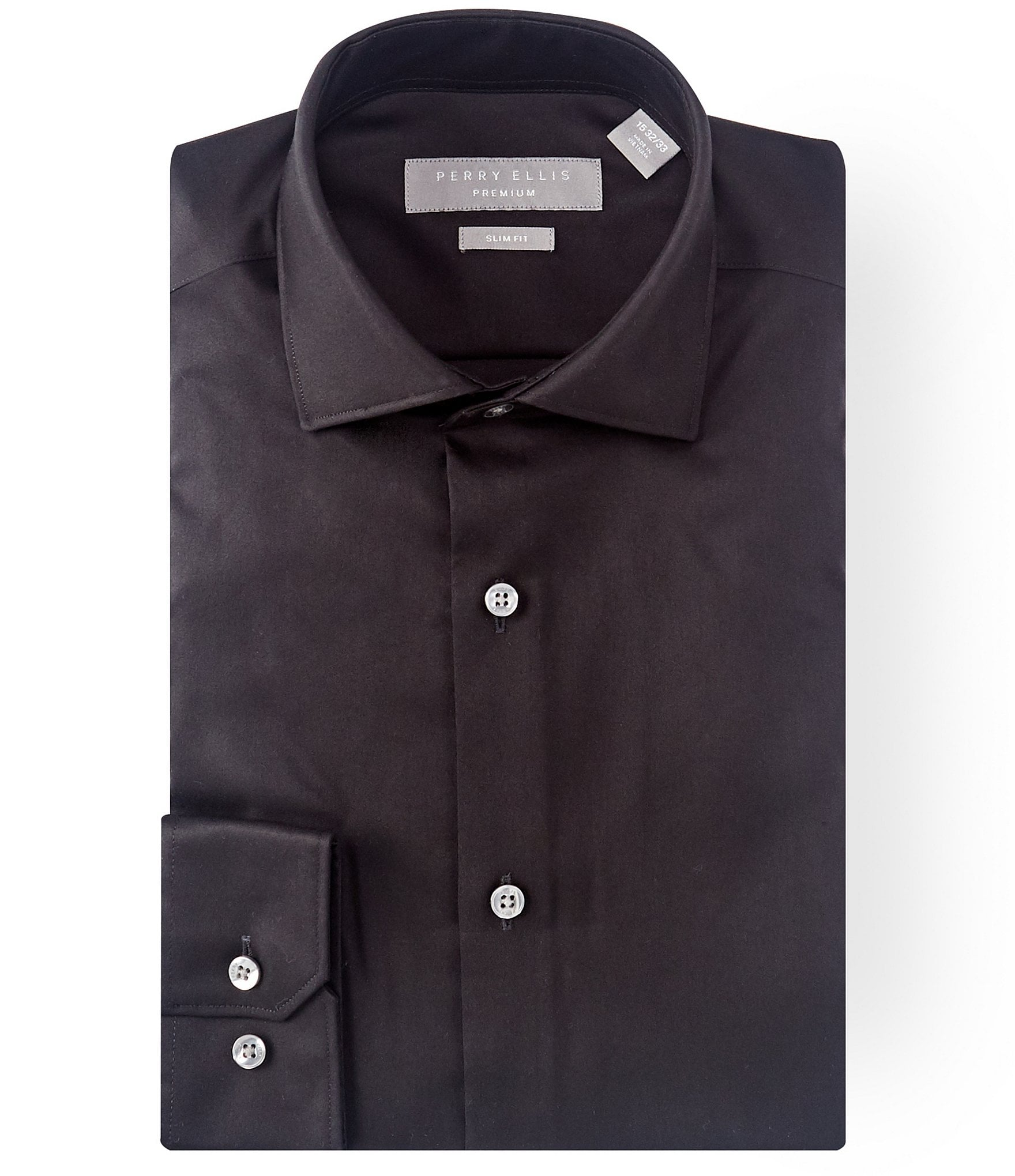 Perry ellis non iron slim fit spread collar solid twill for Slim fit non iron dress shirts
