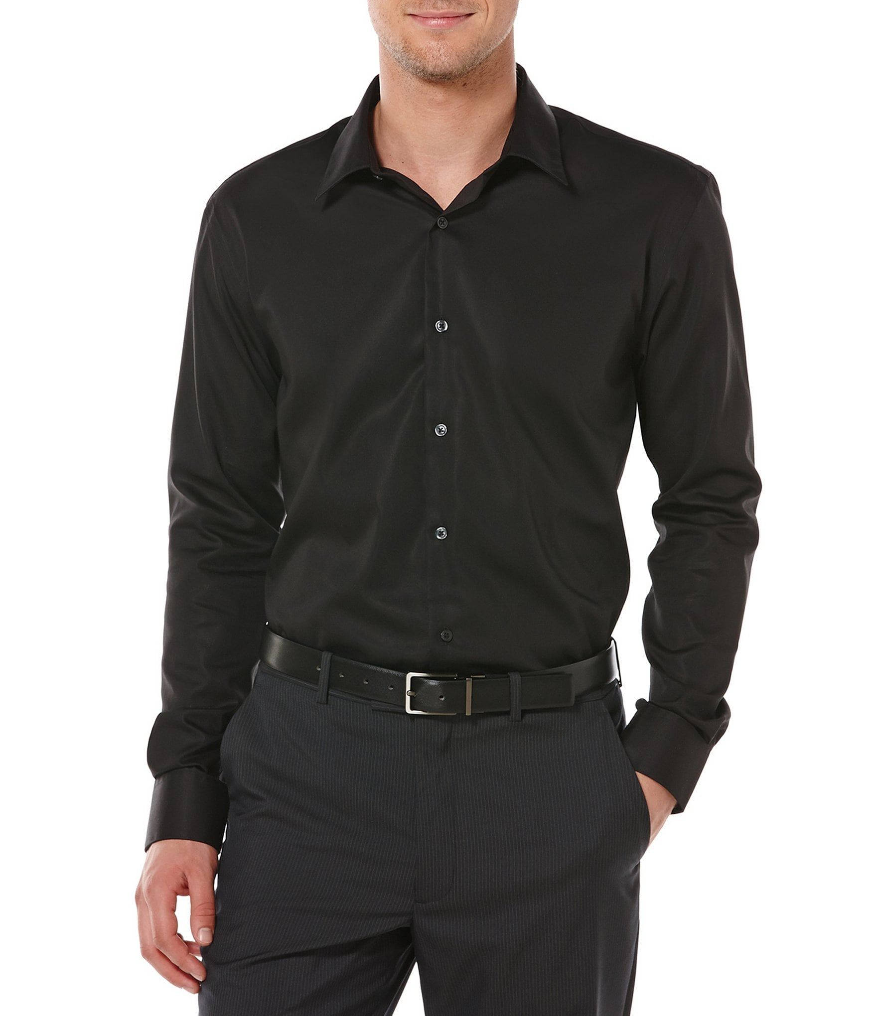 Perry Ellis Non-Iron Solid Long-Sleeve Twill Shirt | Dillard's