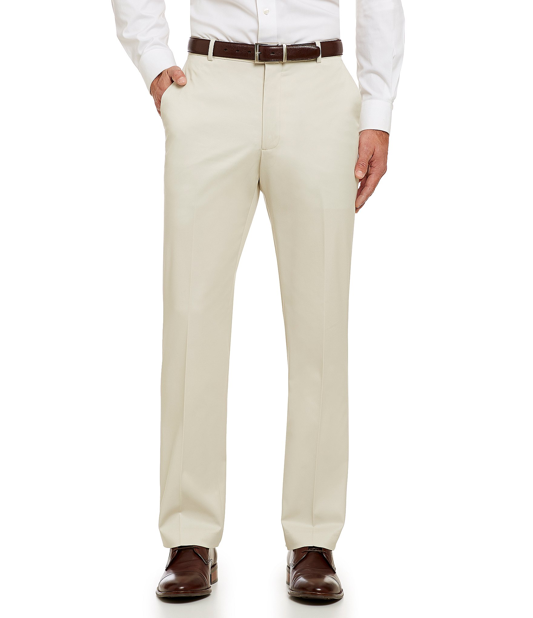 Perry Ellis Performance Luxe Tailored Fit Flat Front Pants