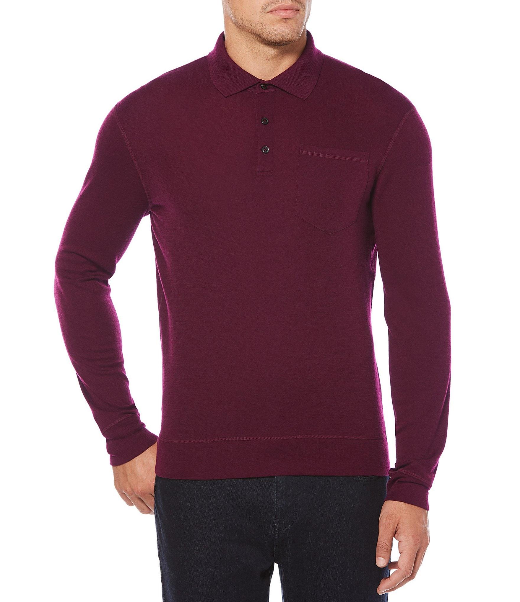 Perry ellis solid merino wool long sleeve polo shirt for Long sleeve wool polo shirts