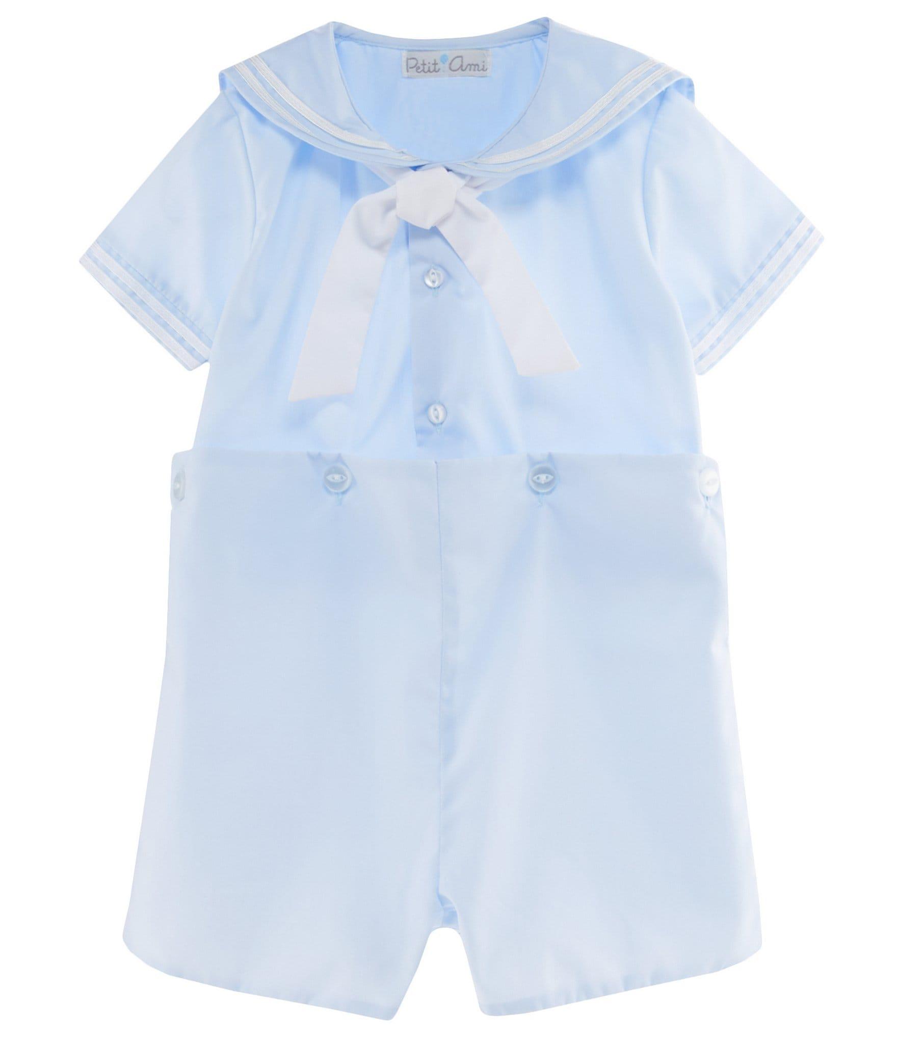 Petit Ami Sailor Set 3524 Short Slv Top Buttons To Shorts Blue 12 18 24M #10163
