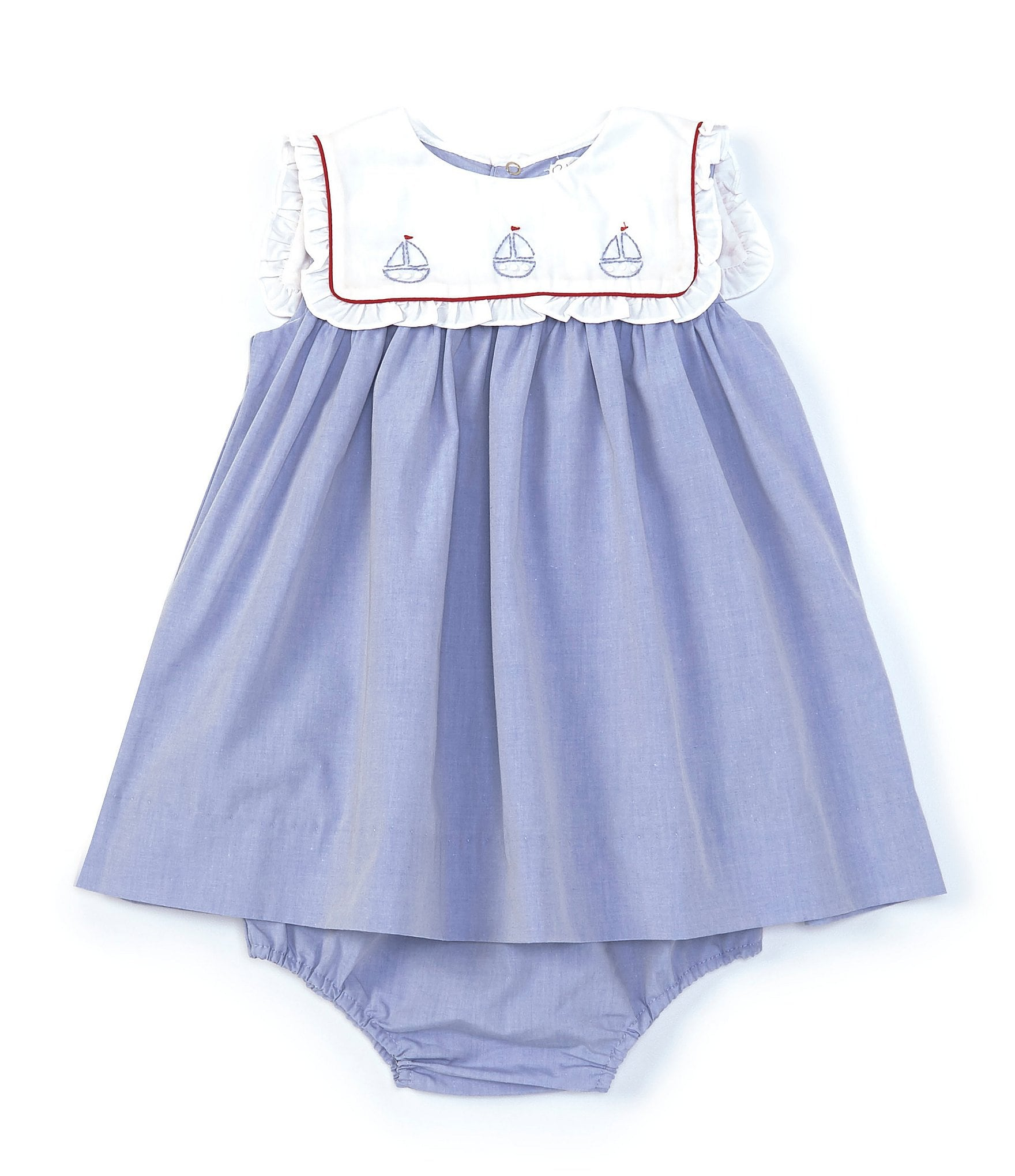 Petit Ami Baby Boys Romper with Embroidered Sailboat Bib Blue