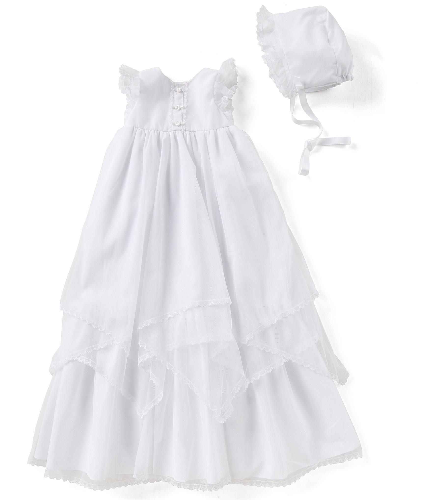d1b3e2a660a0e Pippa & Julie Baby Girls Newborn-9 Months Tiered-Hem Christening Gown &  Bonnet Hat Set