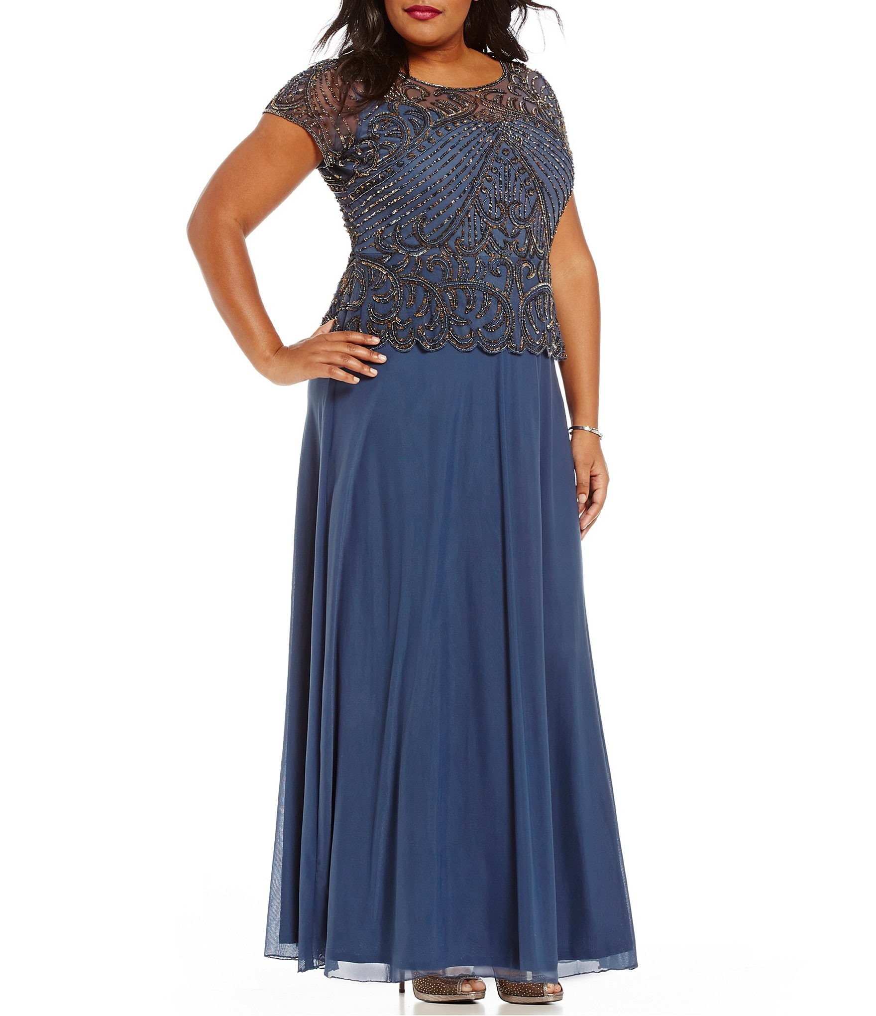 Pisarro nights plus beaded peplum dress dillards for Dillards plus size wedding guest dresses