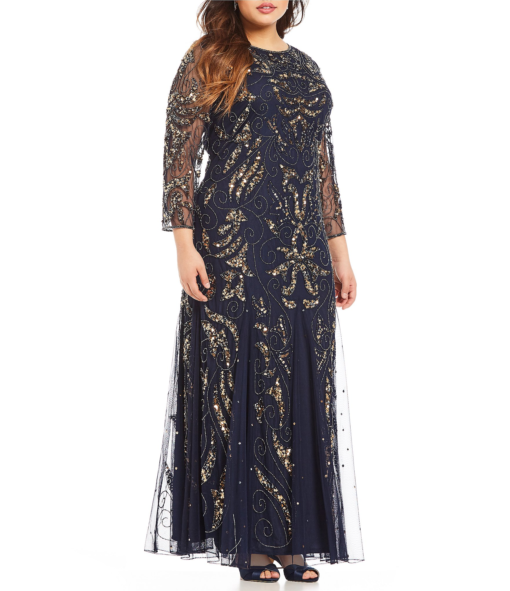 Pisarro Nights Plus Long Sleeve Beaded Gown
