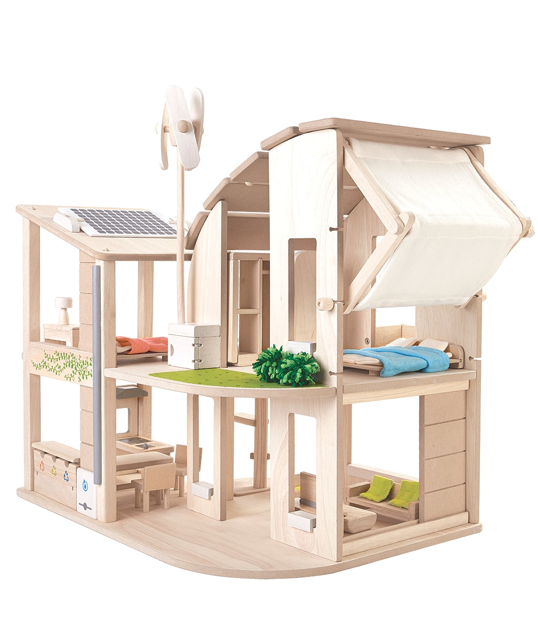 Dillards Furniture Brands: Plan Toys Green Dollhouse With Furniture