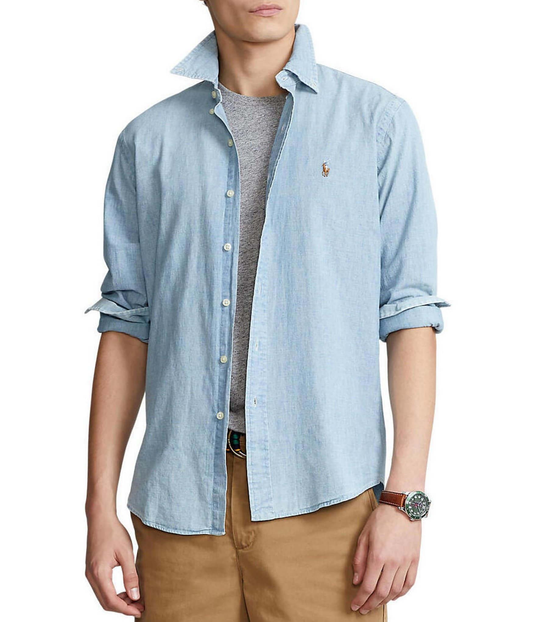 Classic Fit Solid Chambray Shirt by Polo Ralph Lauren