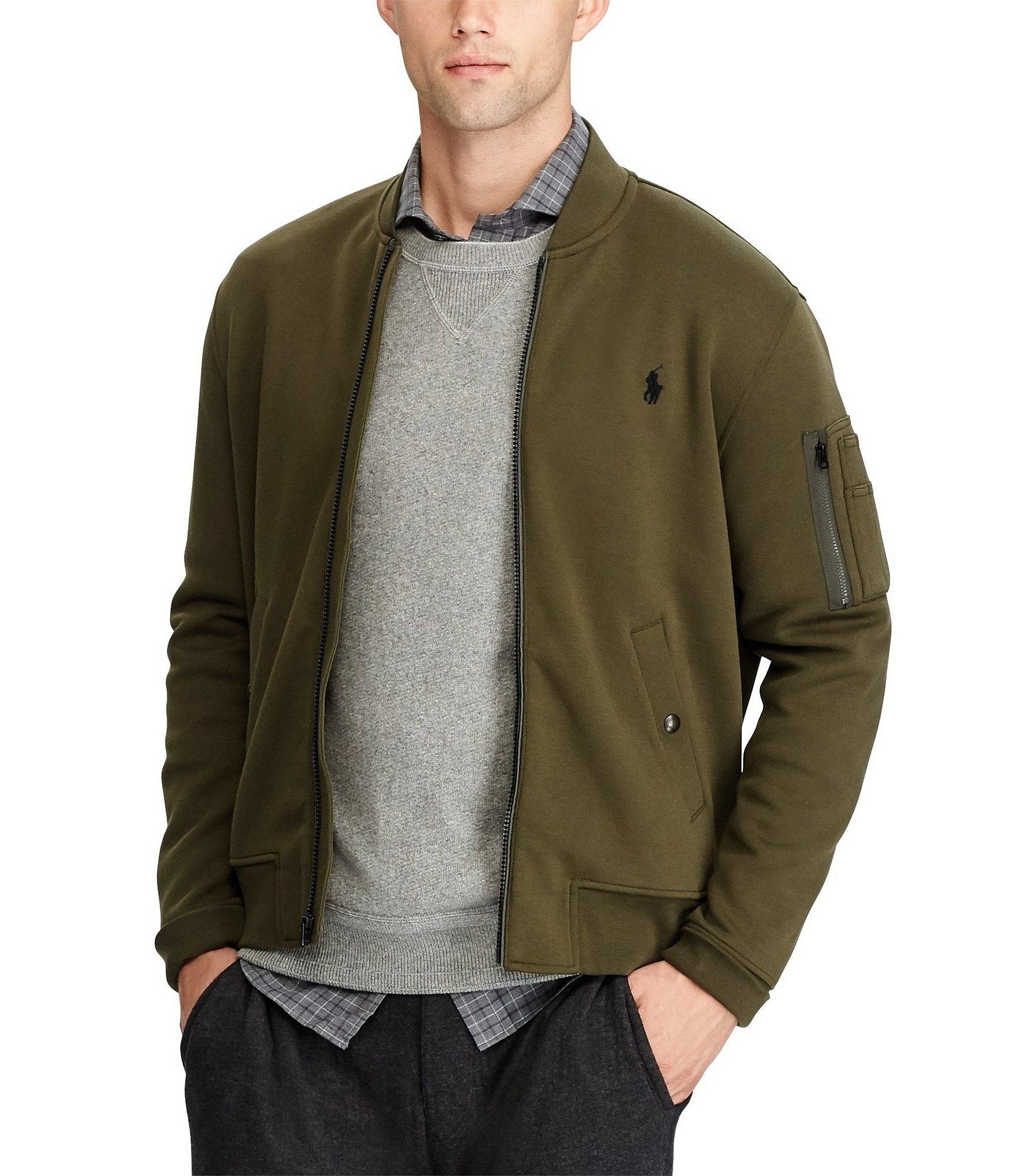 polo ralph lauren double knit full zip bomber jacket. Black Bedroom Furniture Sets. Home Design Ideas