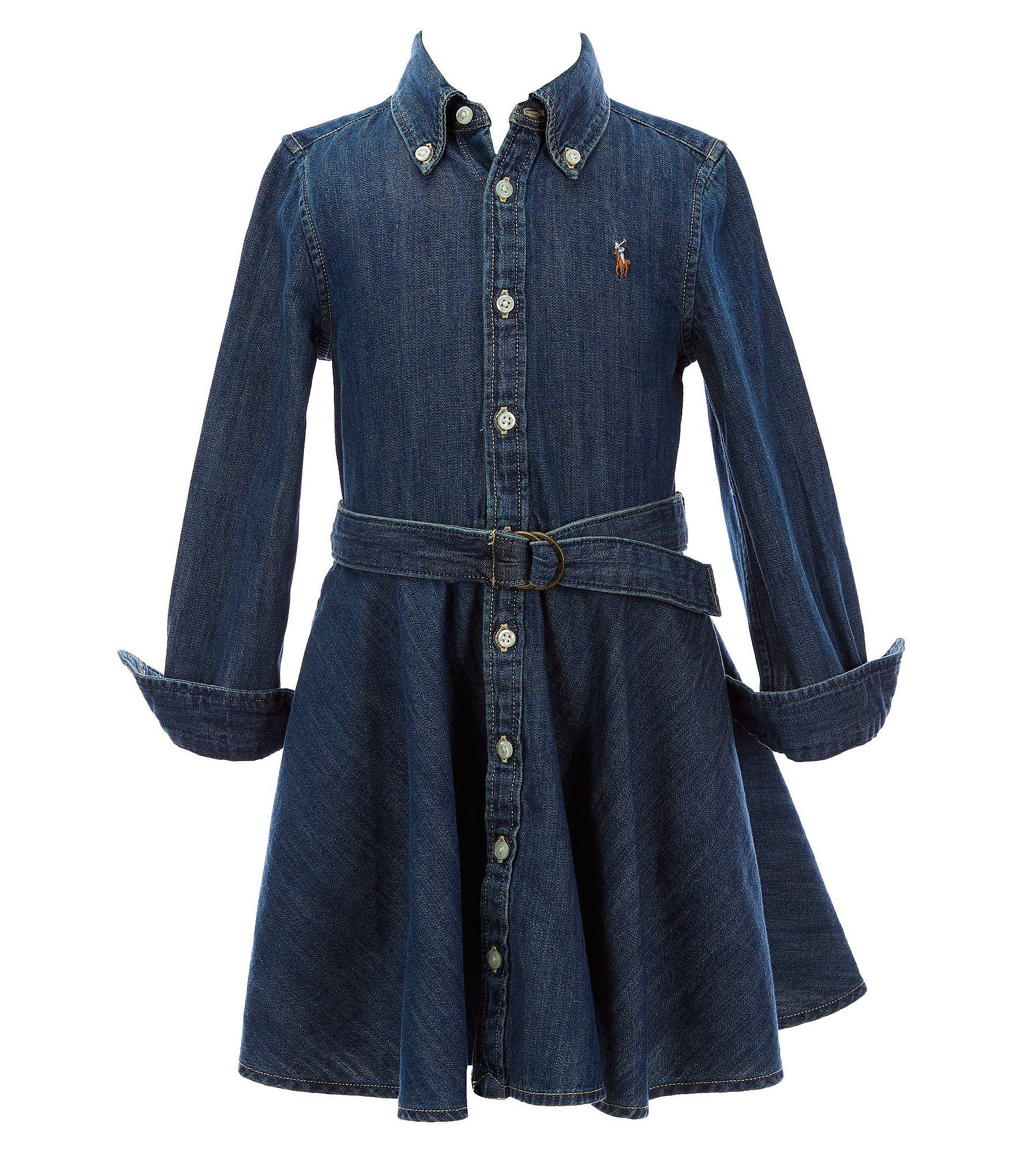 Polo Ralph Lauren Little Girls 2T-6X Belted Denim Shirt Dress | Dillard's