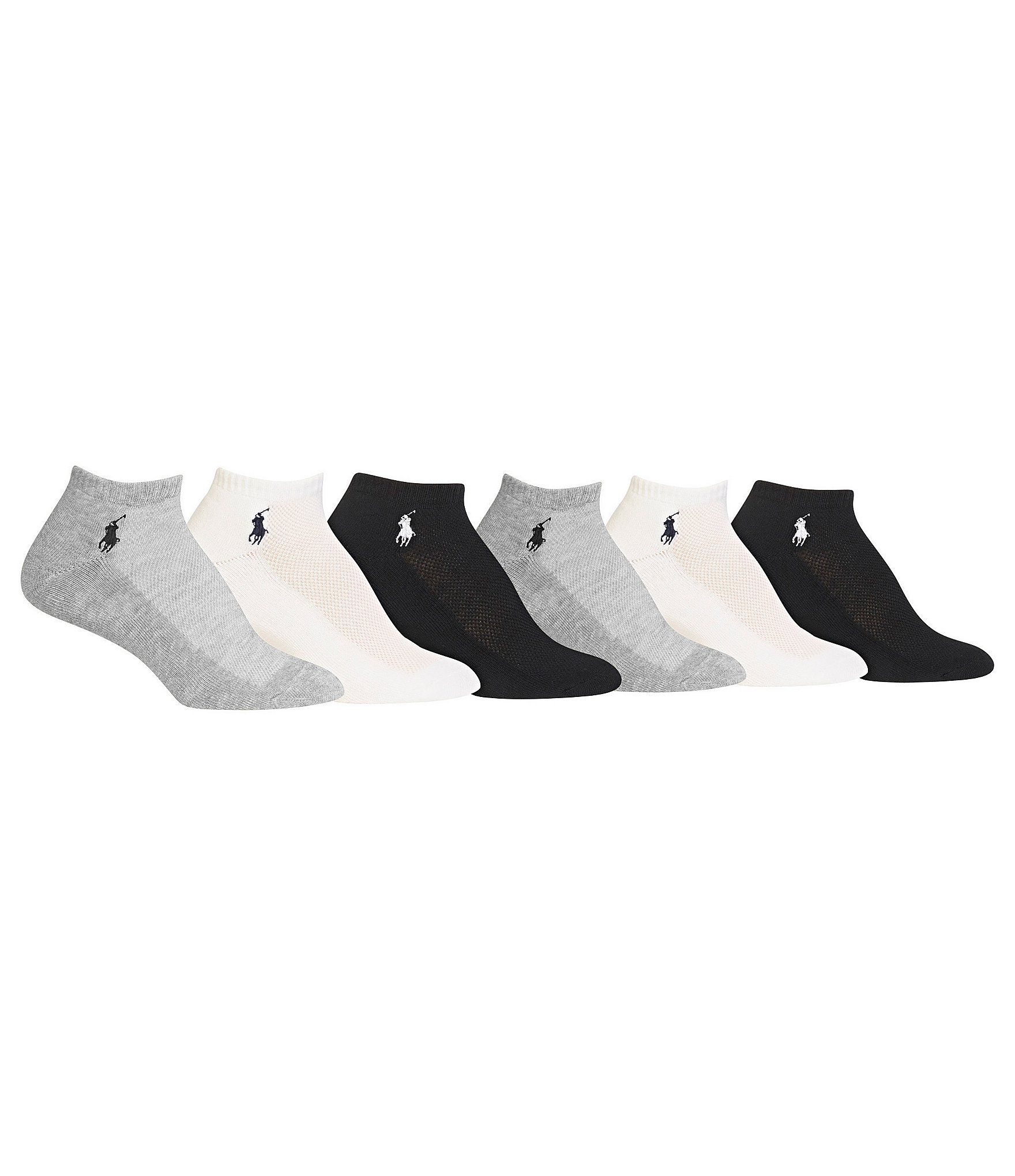 Polo Ralph Lauren Low-Cut Mesh-Top Sport Socks 6-Pack  057f88d27