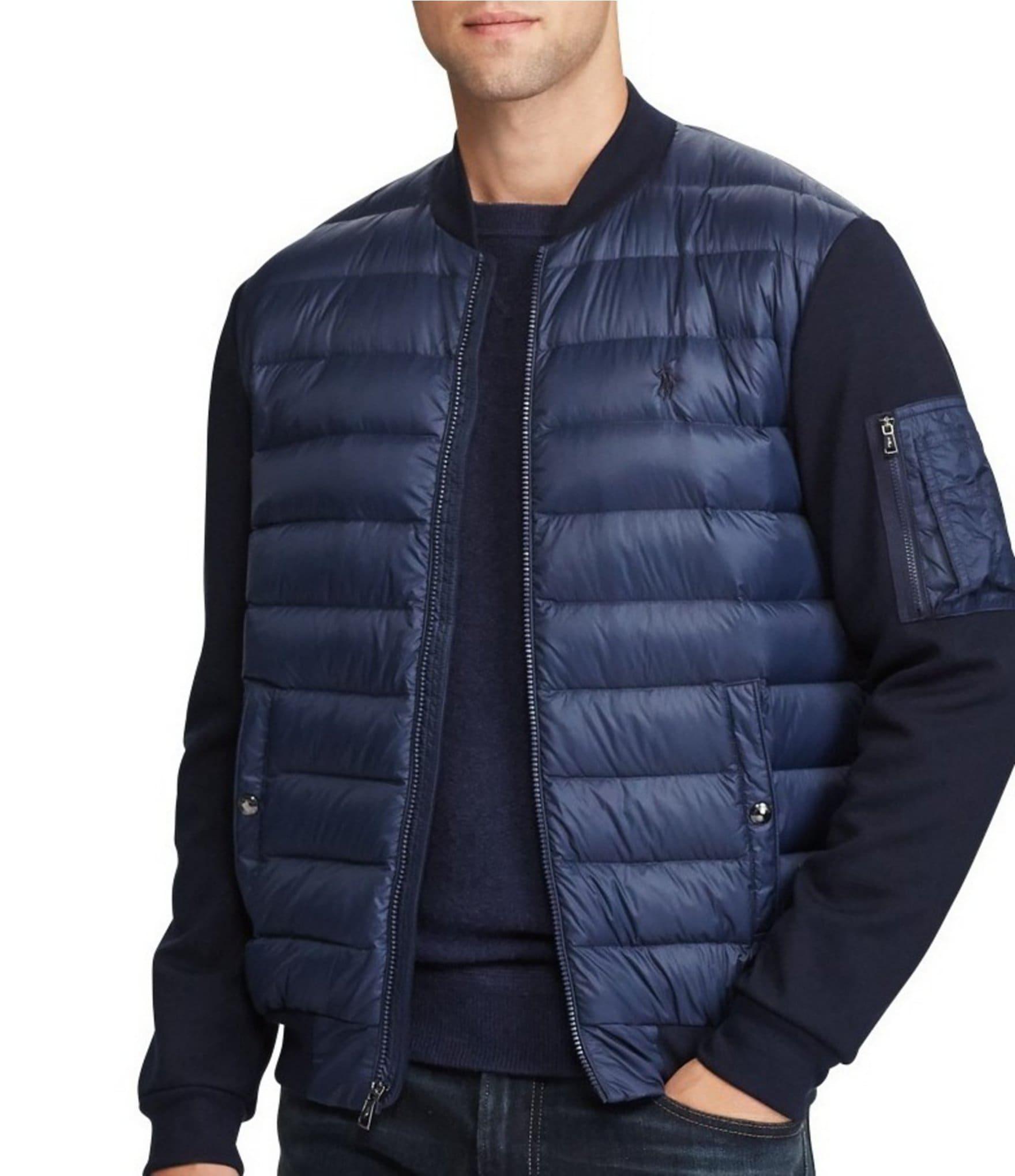 polo ralph lauren paneled down hybrid bomber jacket dillards. Black Bedroom Furniture Sets. Home Design Ideas