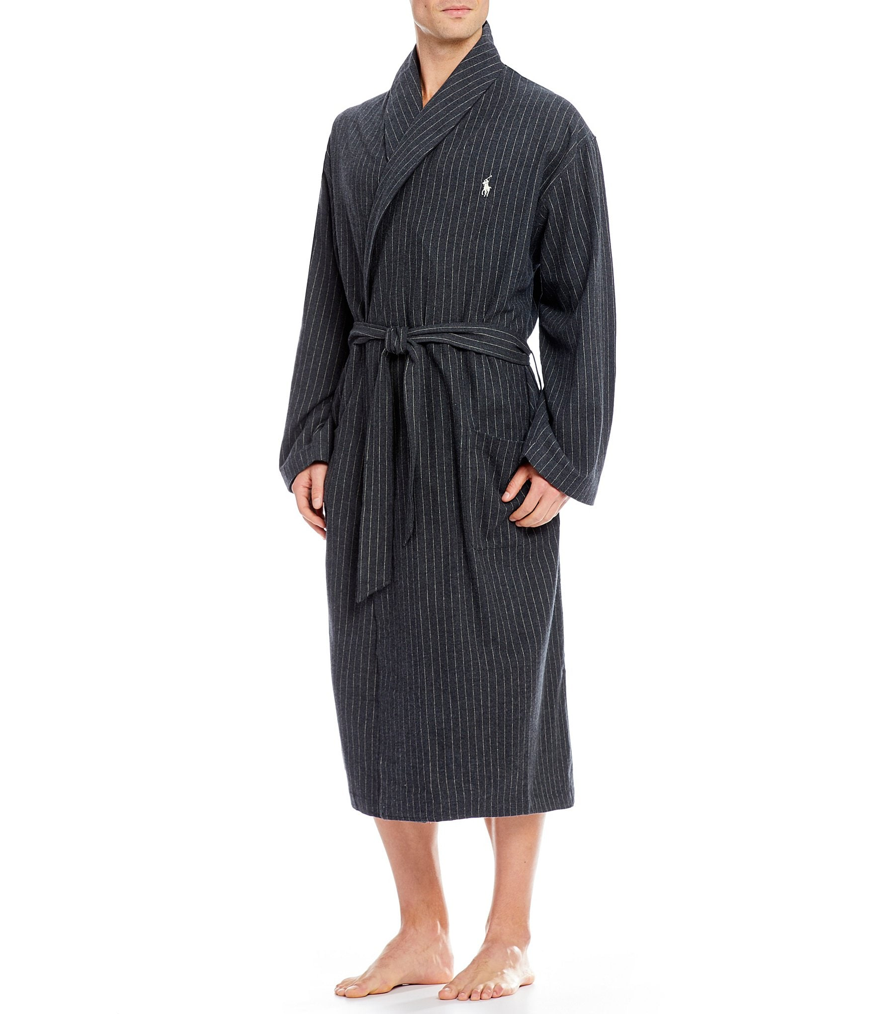 polo ralph lauren pinstripe flannel robe dillards. Black Bedroom Furniture Sets. Home Design Ideas