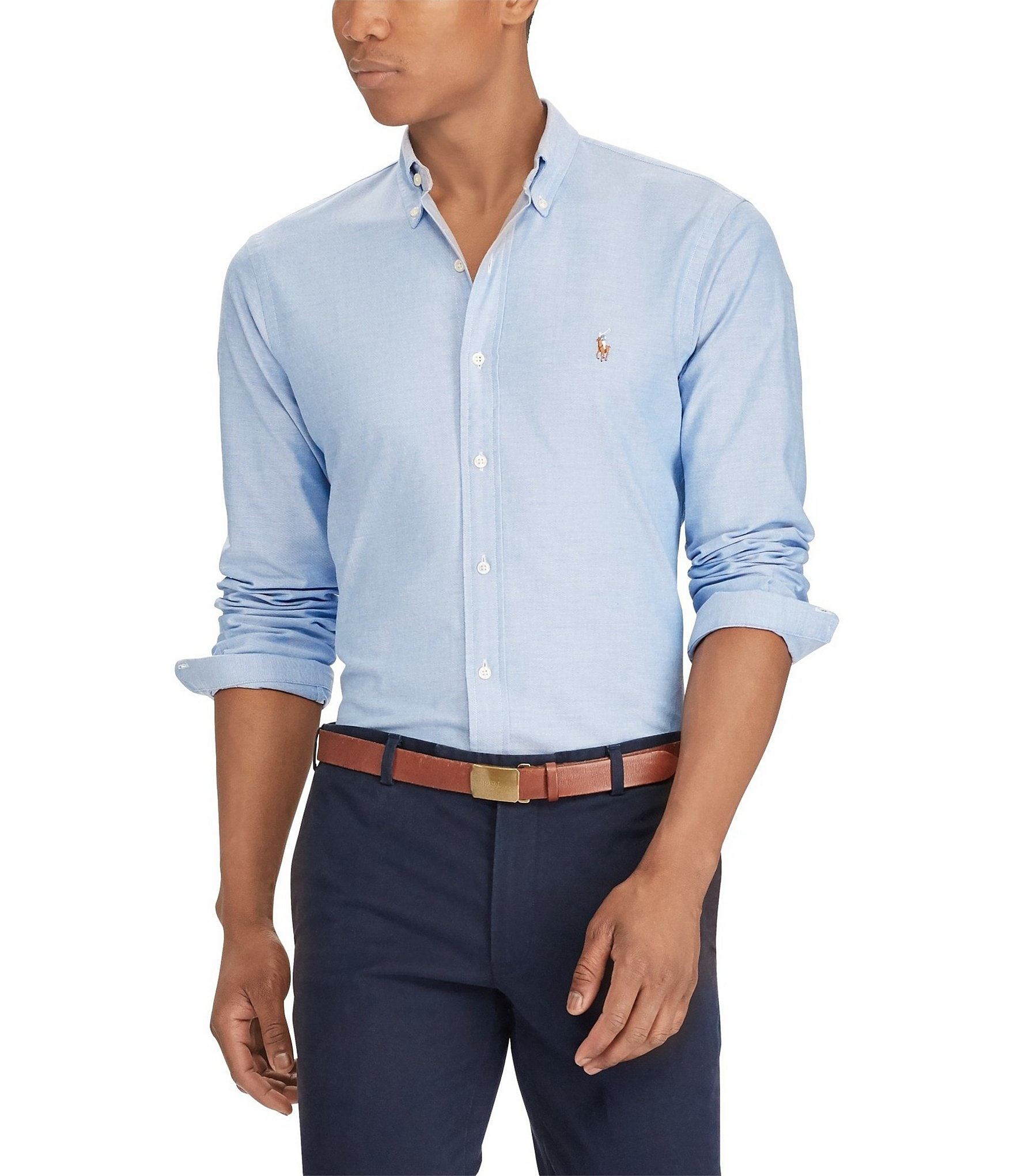 Polo ralph lauren slim fit solid stretch oxford long for Men oxford slim fit long sleeve shirt