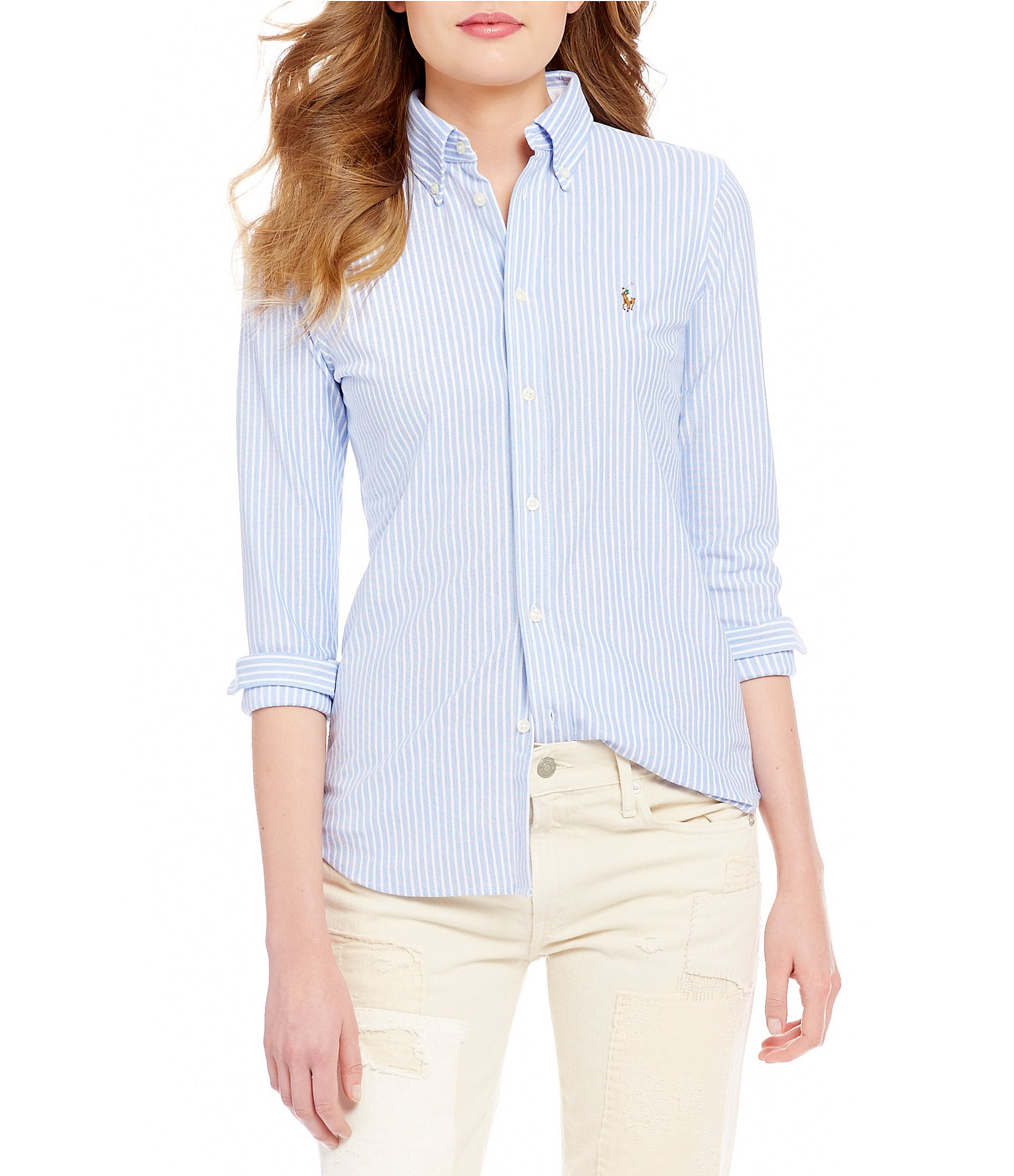 Polo ralph lauren striped knit oxford shirt dillards for Polo ralph lauren striped knit dress shirt