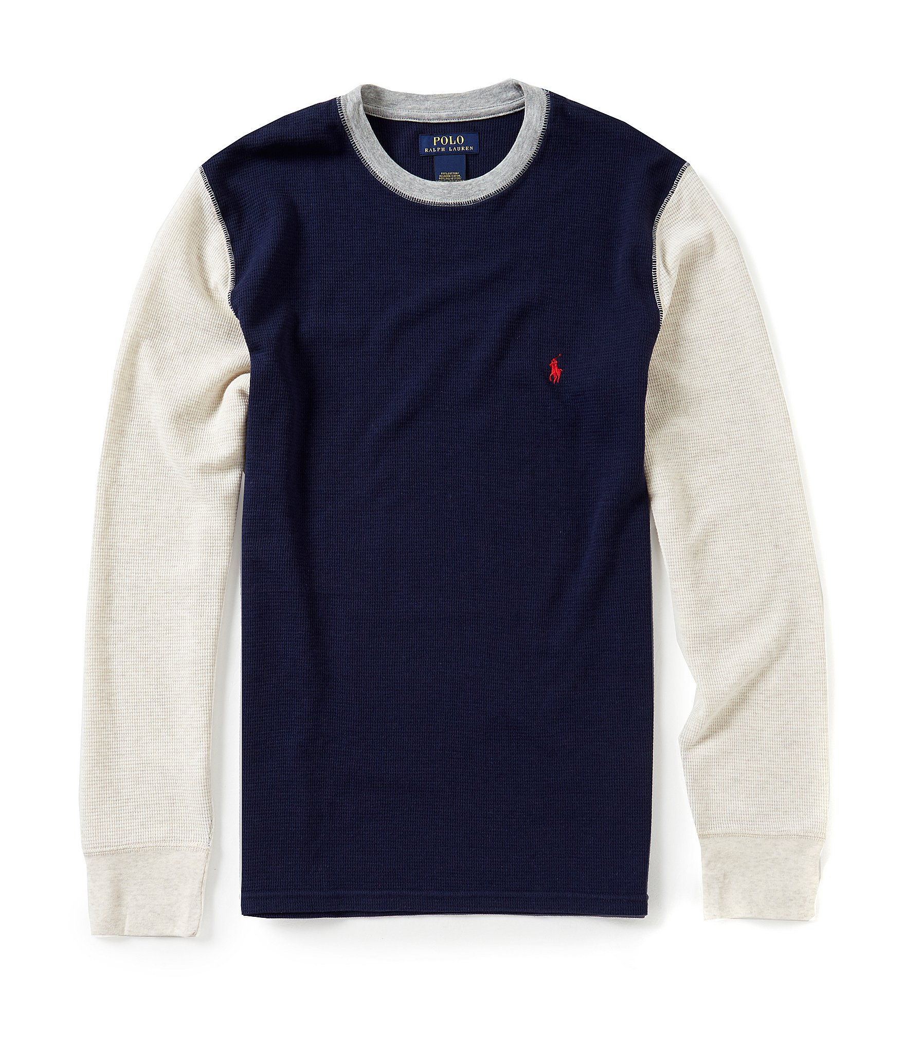 Polo ralph lauren waffle color block long sleeve crew t for Polo color block shirt