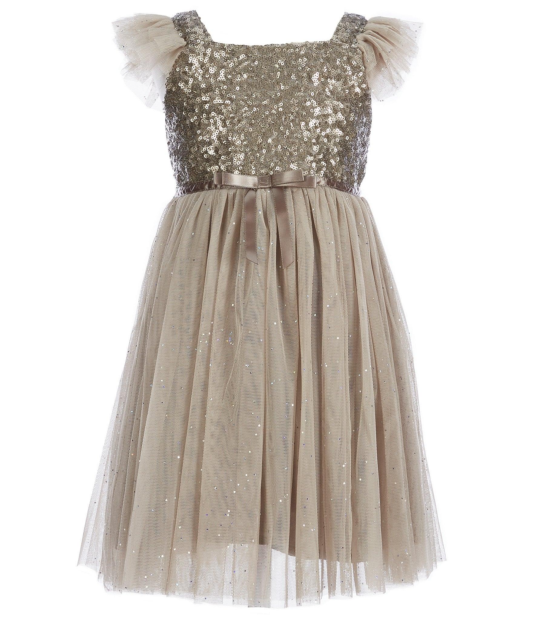 b06c27251 Popatu Little Girls 2-6 Glitter Flutter-Sleeve Tulle Dress | Dillard's