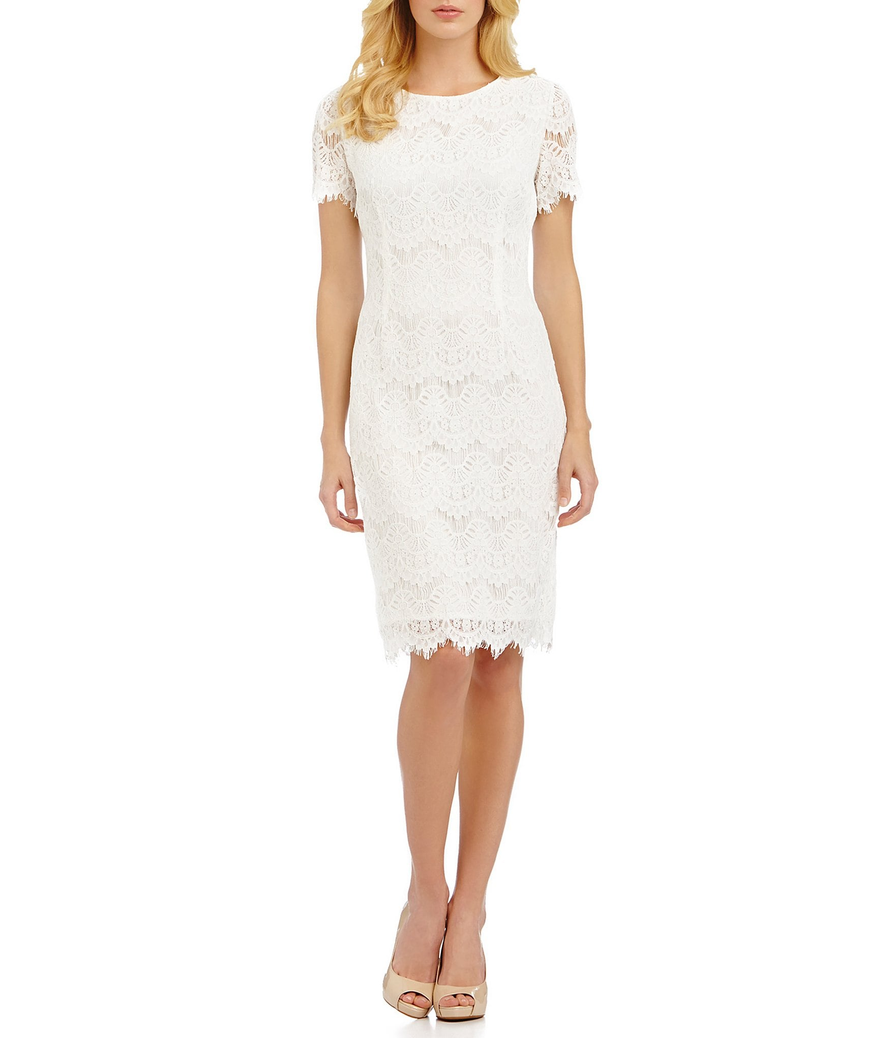Ladies Gowns: Preston & York Felicia Short Sleeve Lace Sheath Dress