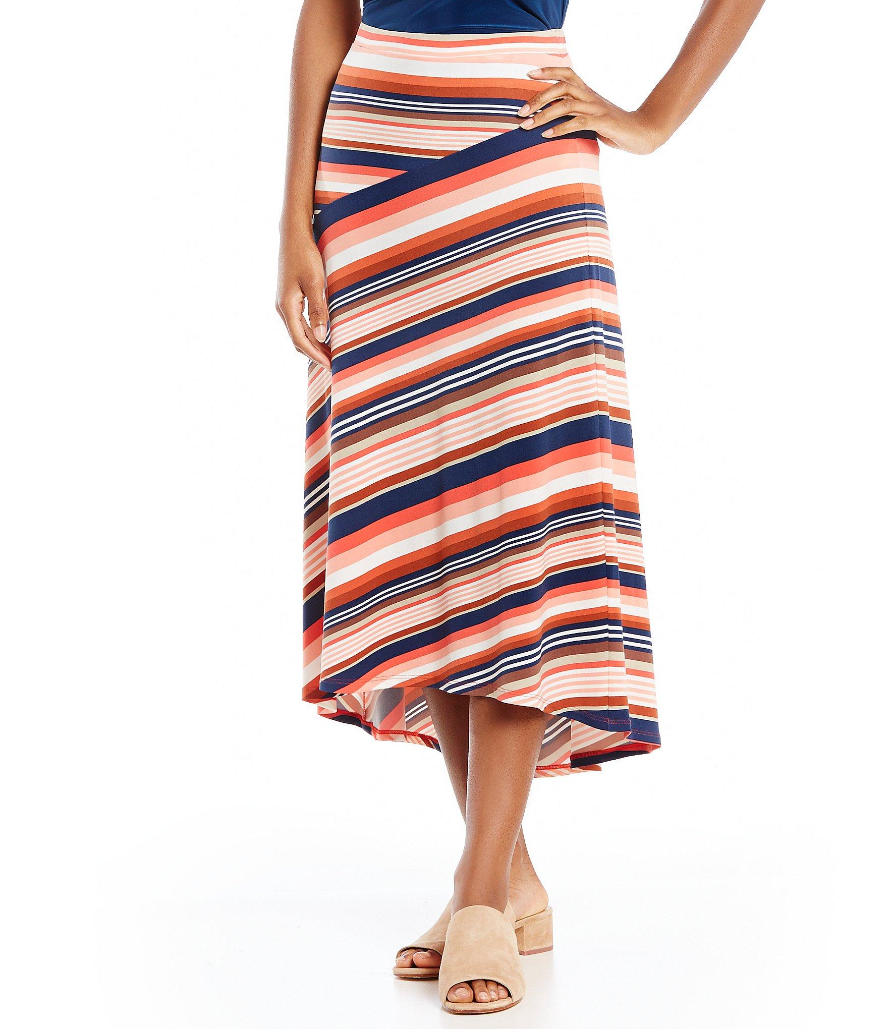 york multi colored striped midi skirt dillards