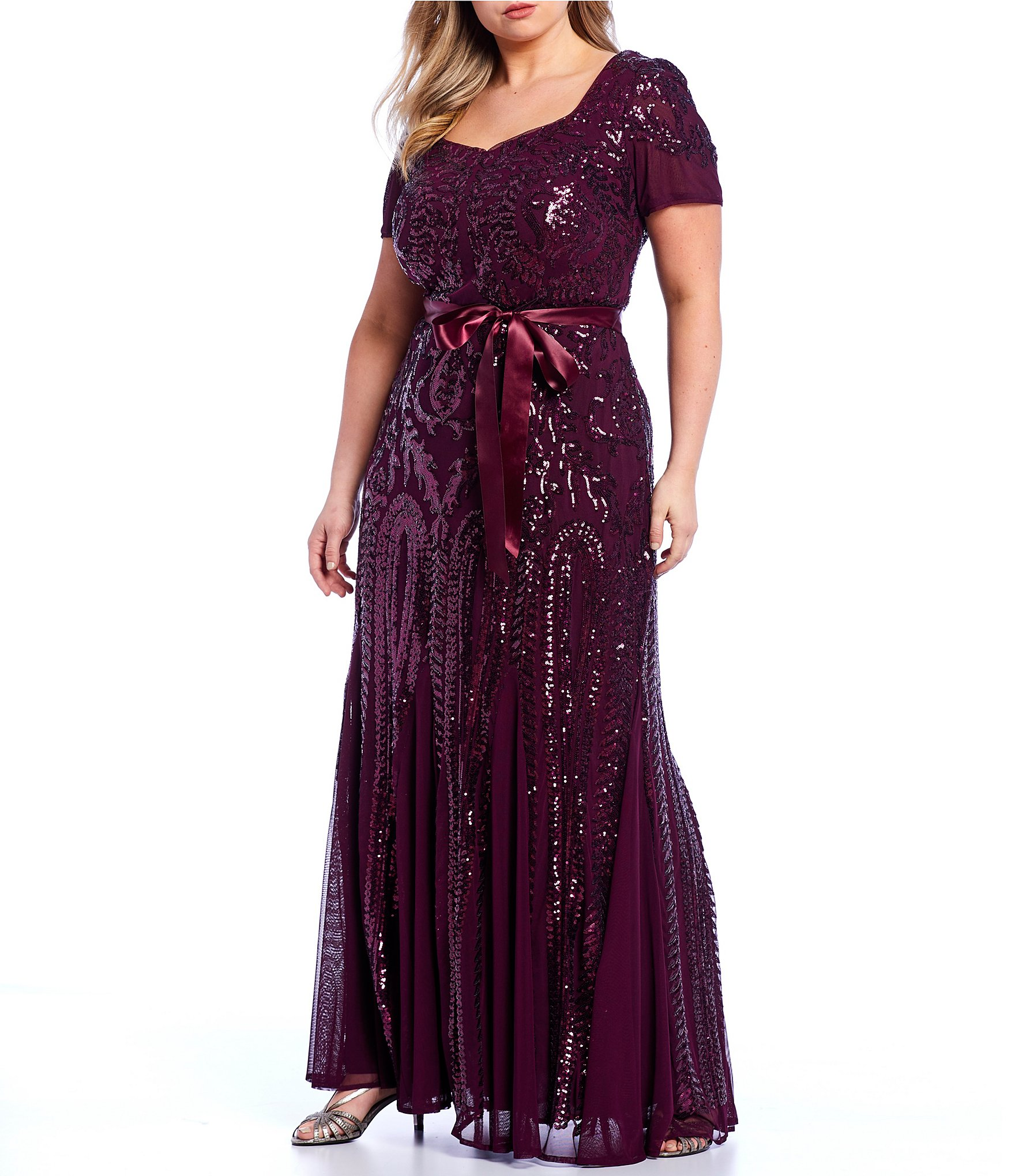 R & M Richards Plus Size Embroidered Sequin Lace Sweetheart Godet Gown