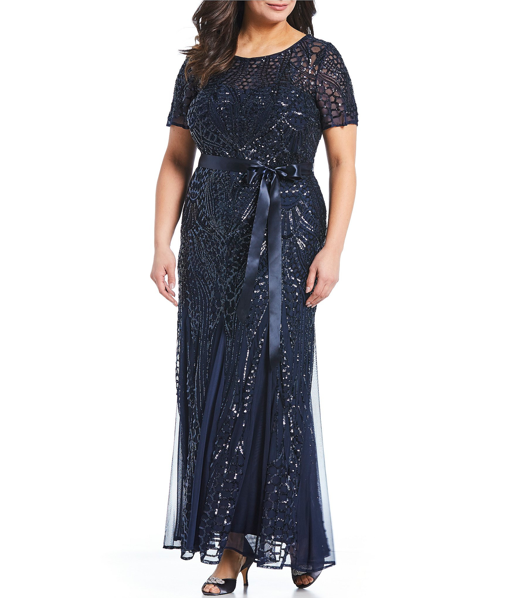 R & M Richards Plus Size Embroidered Sequin Panel Belted Gown