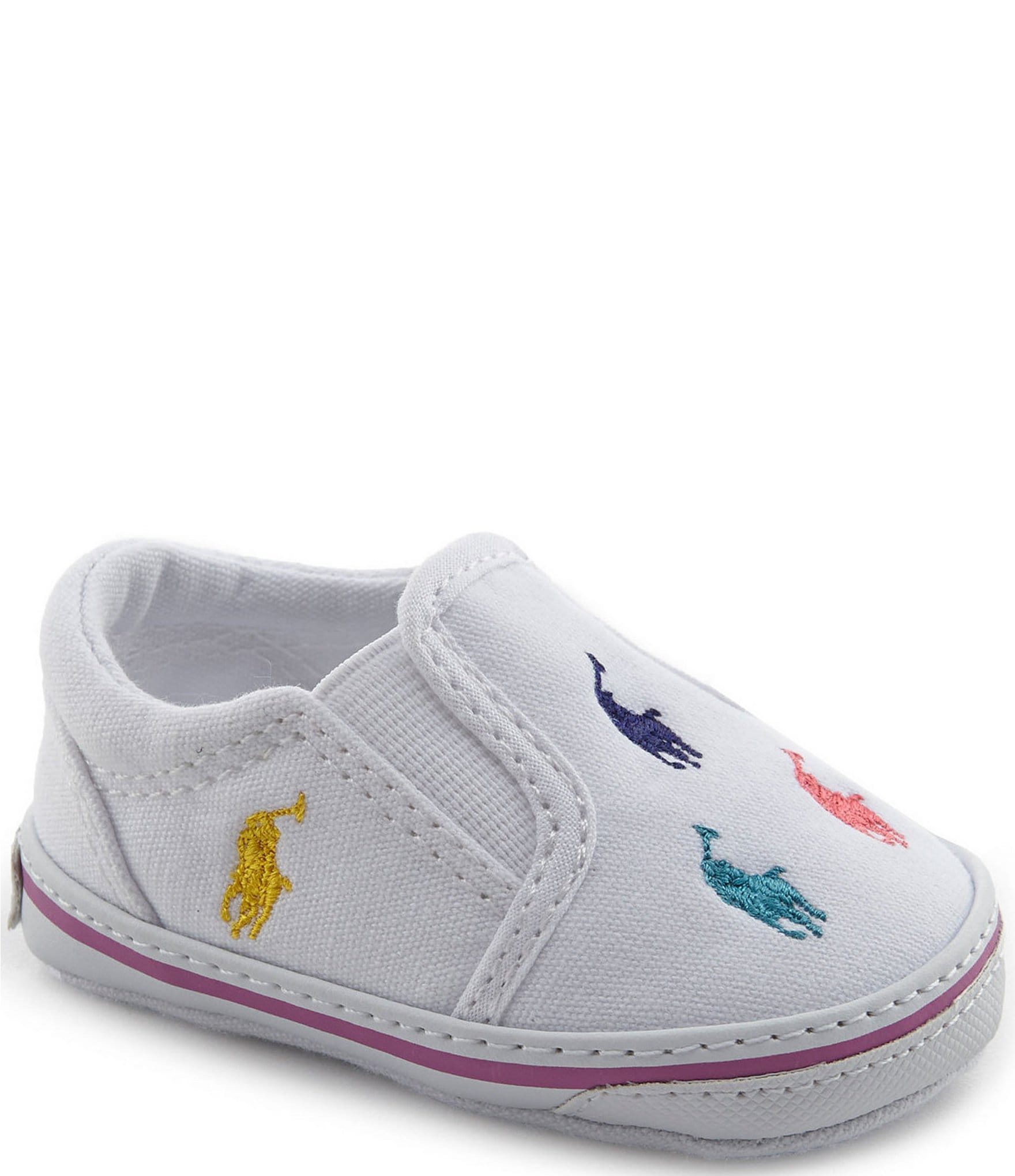 classic style fresh styles look good shoes sale Polo Ralph Lauren Girls' Bal Harbor Slip-On Oxfordcloth Sneakers