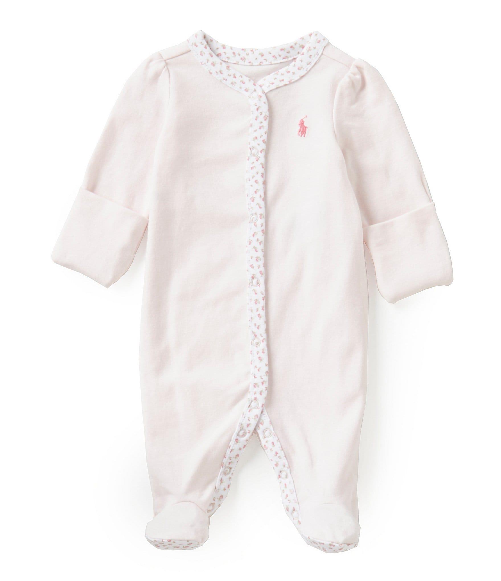 ae6648e2eff90 Ralph LaurenChildrenswear Baby Girls Newborn-9 Months Floral-Trim Coverall