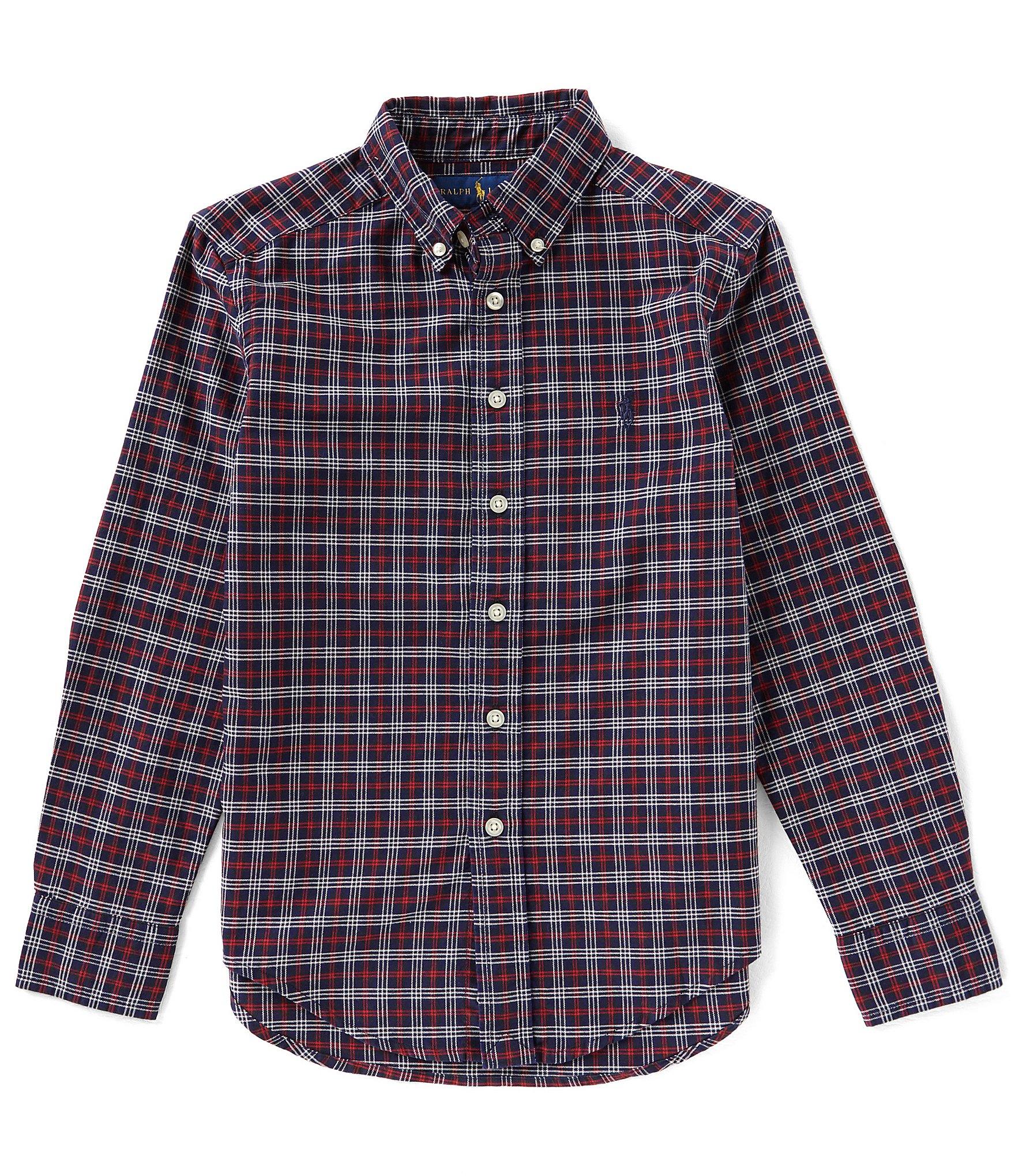 Ralph lauren childrenswear big boys 8 20 plaid lightweight for Lightweight plaid shirt womens
