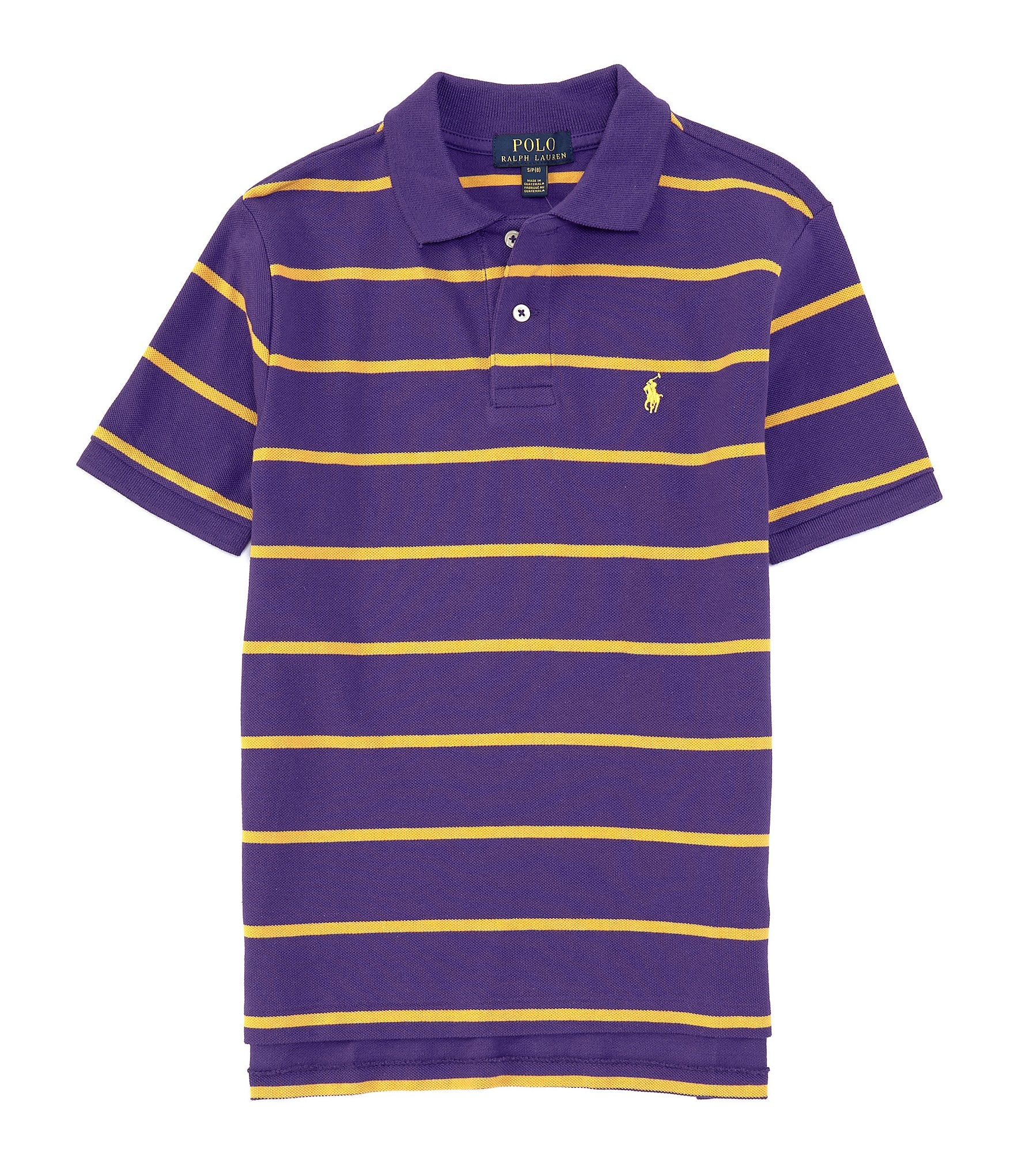 d2d1d4473 Ralph Lauren Childrenswear Big Boys 8-20 Short-Sleeve Collegiate Striped  Mesh Polo Shirt