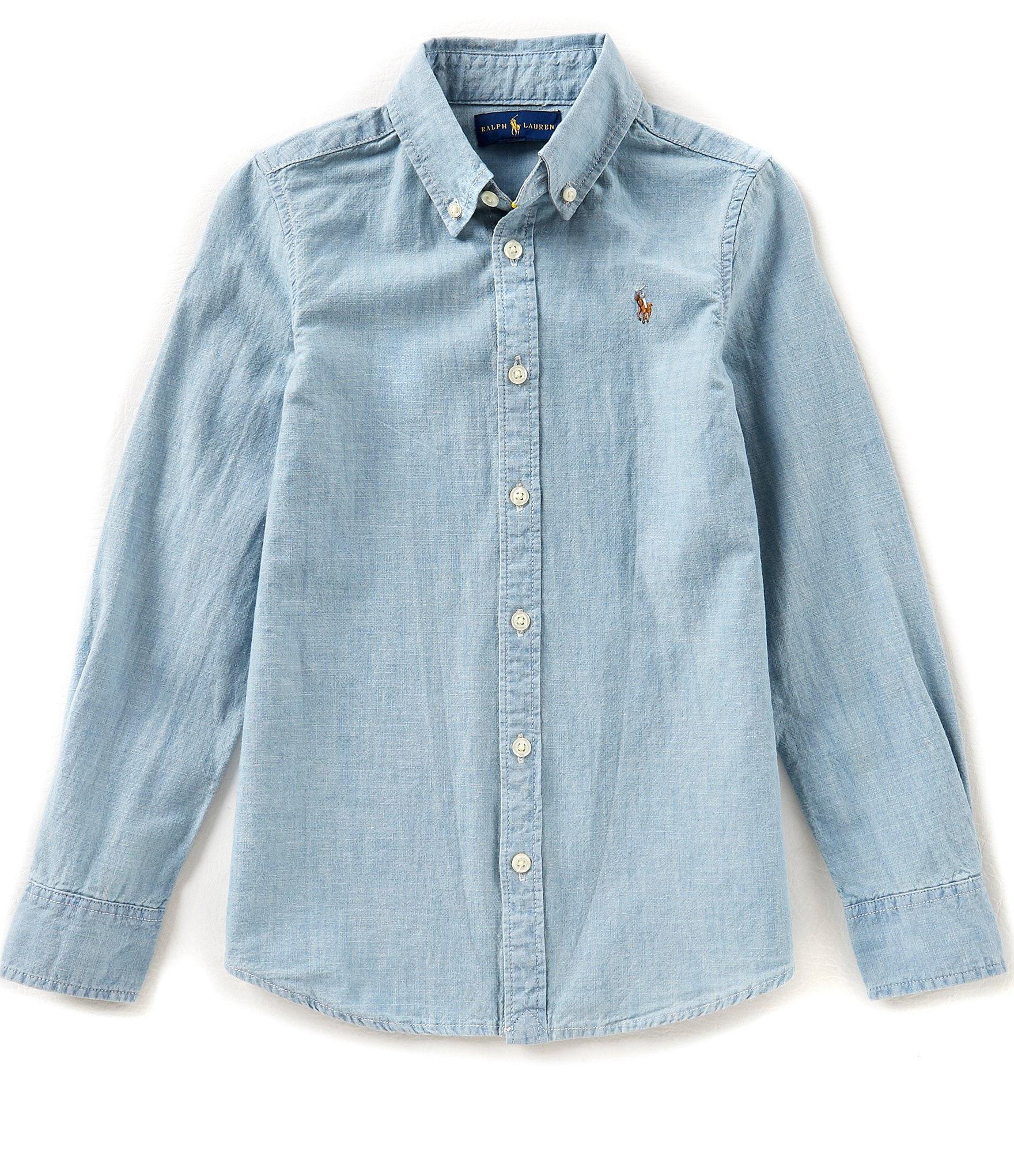 Ralph lauren childrenswear big girls 7 16 long sleeve for Chambray shirt for kids